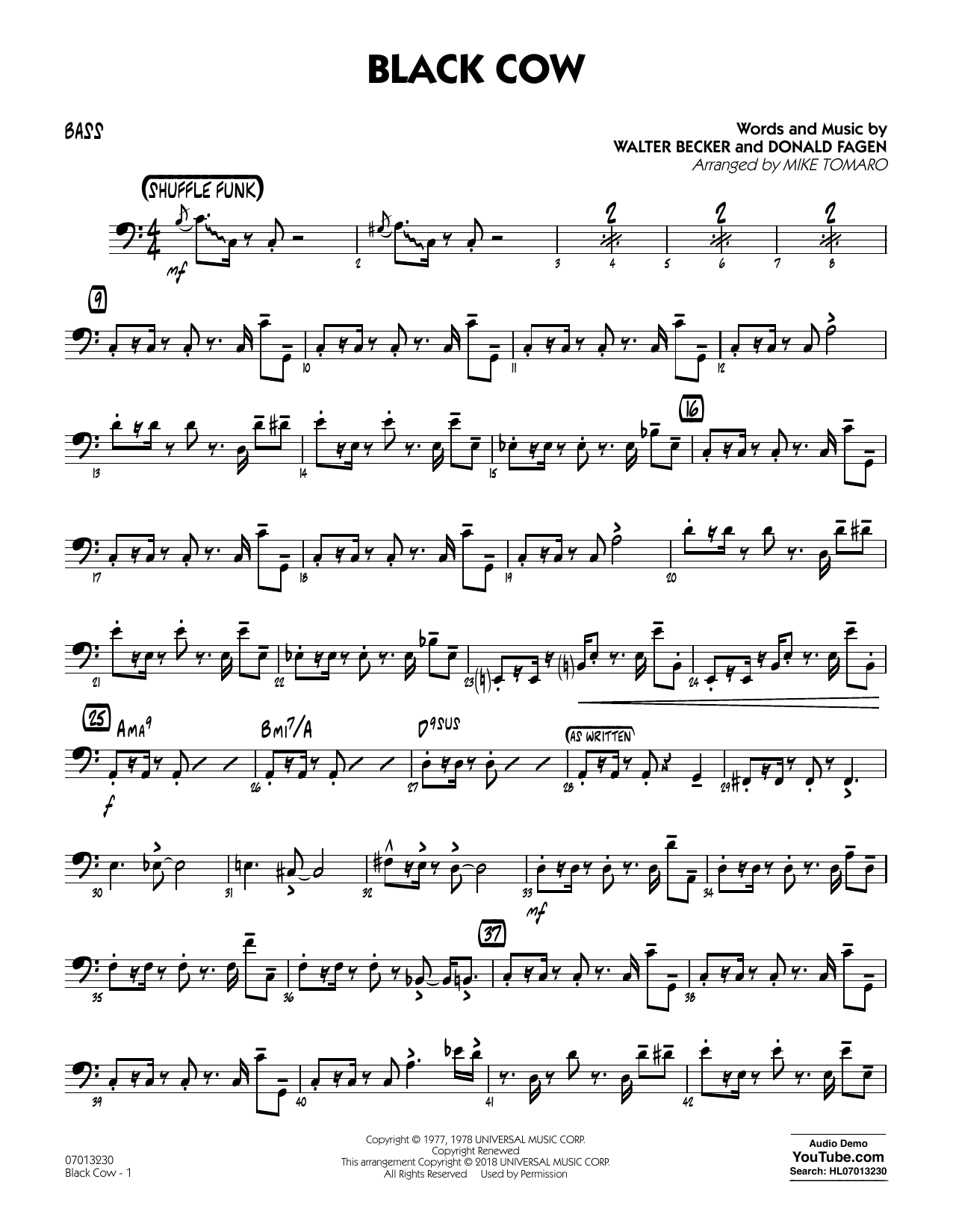 page one of Black Cow (arr. Mike Tomaro) - BassASALTTEXT