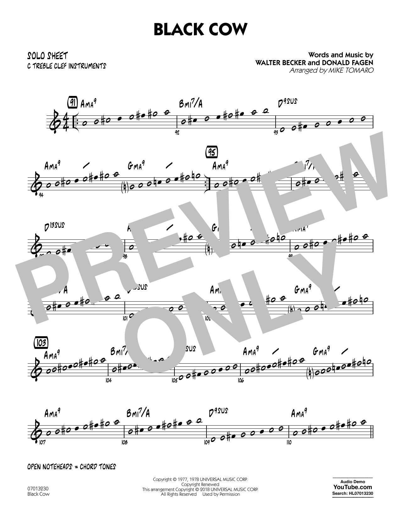 Black Cow (arr. Mike Tomaro) - C Solo Sheet (Jazz Ensemble)