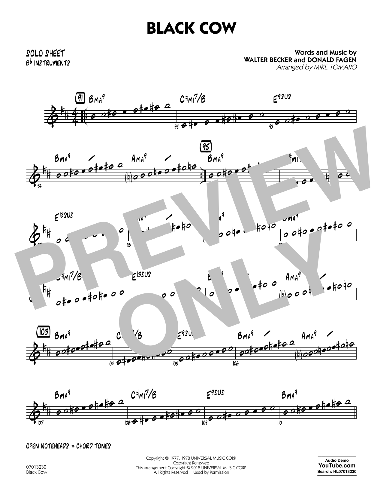 page one of Black Cow (arr. Mike Tomaro) - Bb Solo SheetASALTTEXT