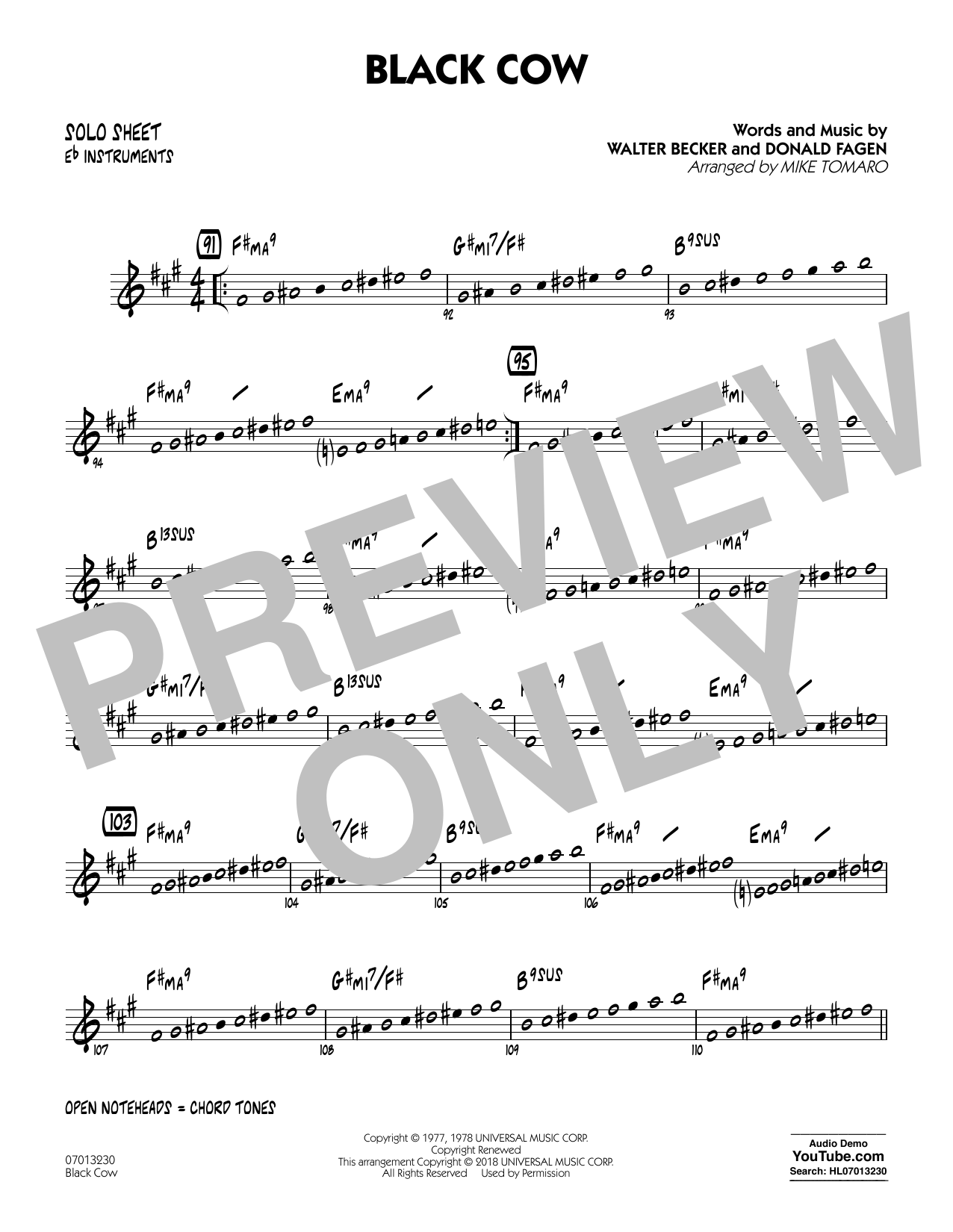 Black Cow (arr. Mike Tomaro) - Eb Solo Sheet (Jazz Ensemble)