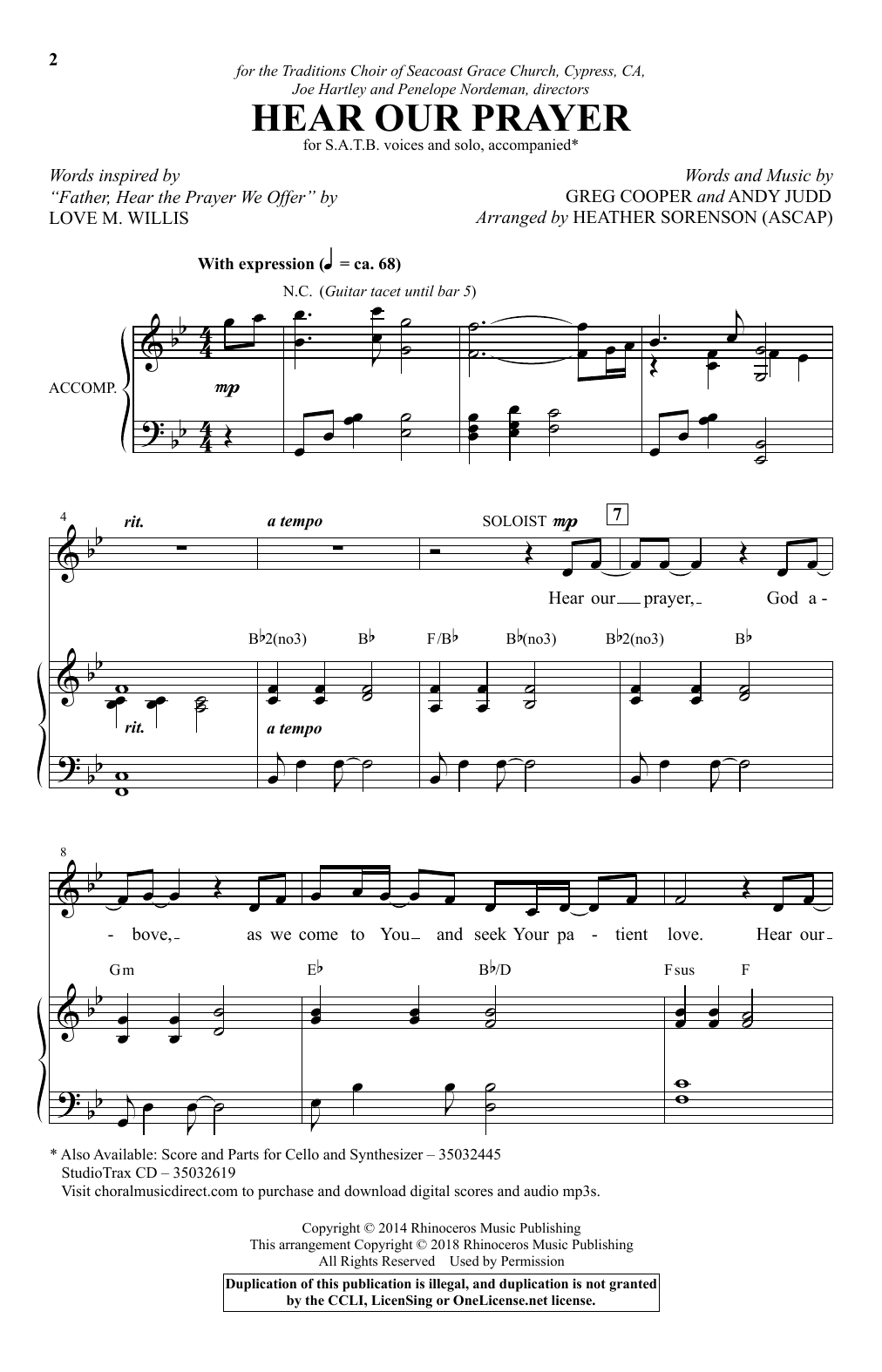 Hear Our Prayer (arr. Heather Sorenson) (SATB Choir)