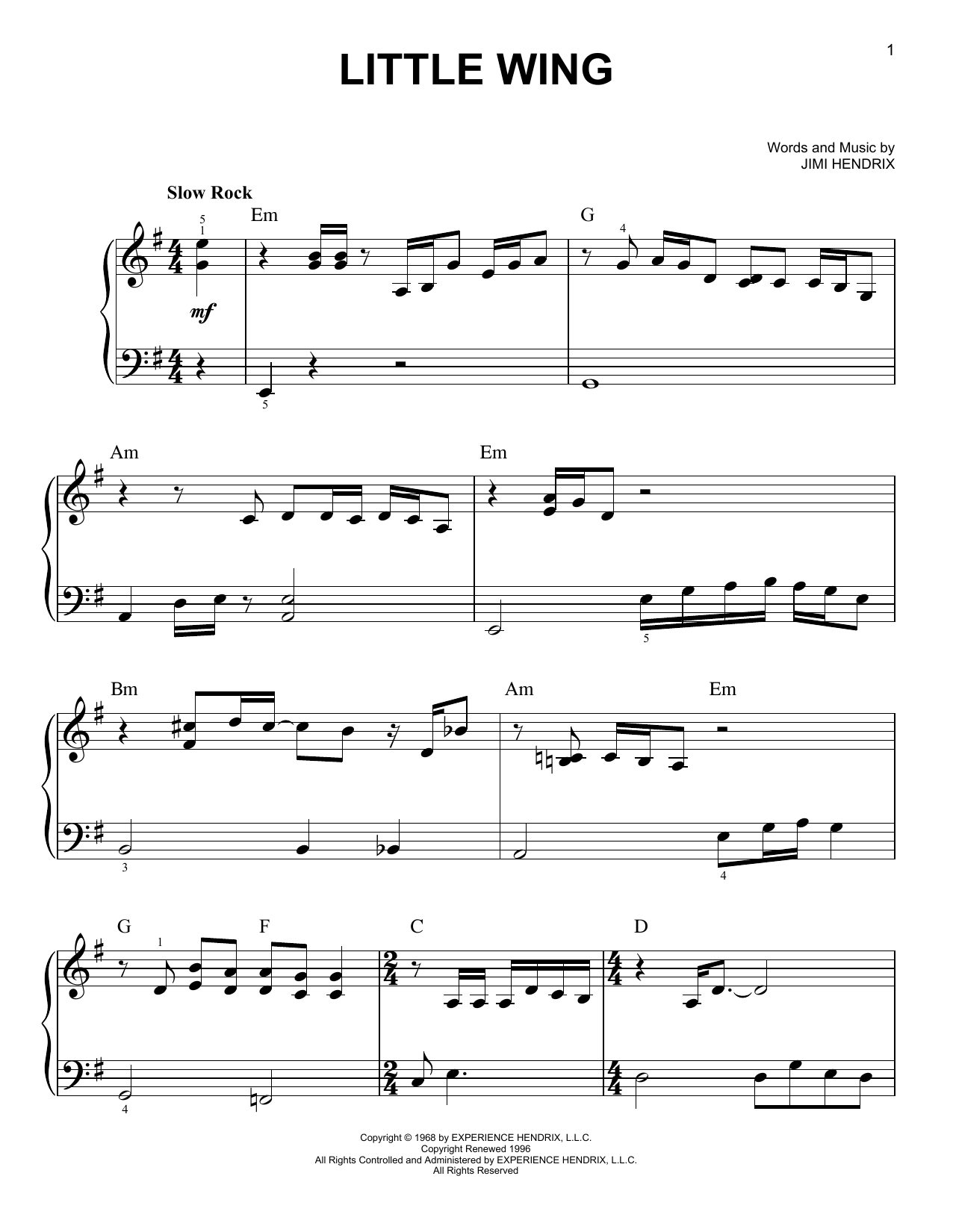 Little Wing (Easy Piano)