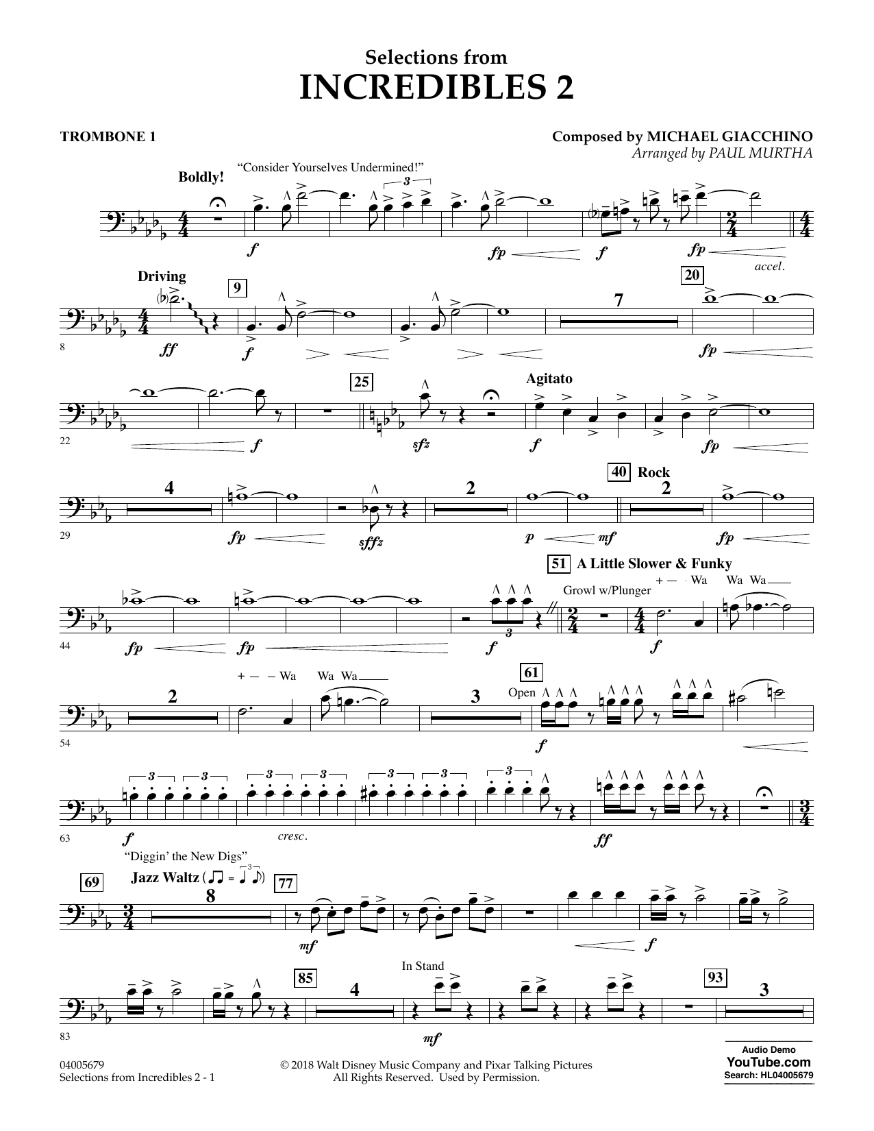 Selections from Incredibles 2 (arr. Paul Murtha) - Trombone 1 (Concert Band)