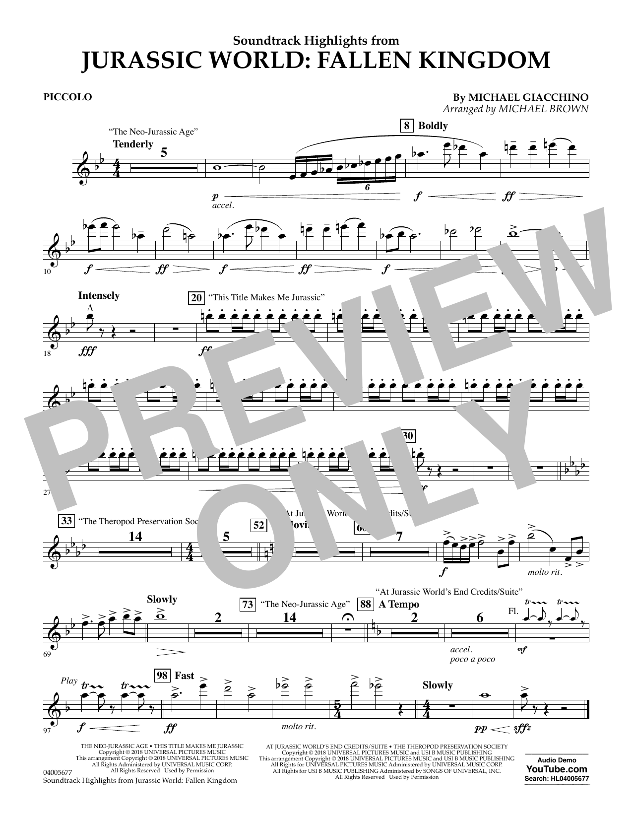 Highlights from Jurassic World: Fallen Kingdom (arr. Michael Brown) - Piccolo (Concert Band)