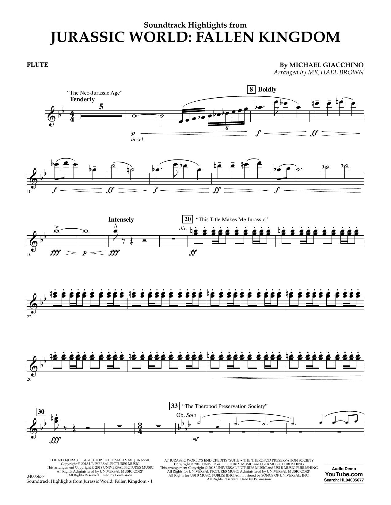 Highlights from Jurassic World: Fallen Kingdom (arr. Michael Brown) - Flute (Concert Band)