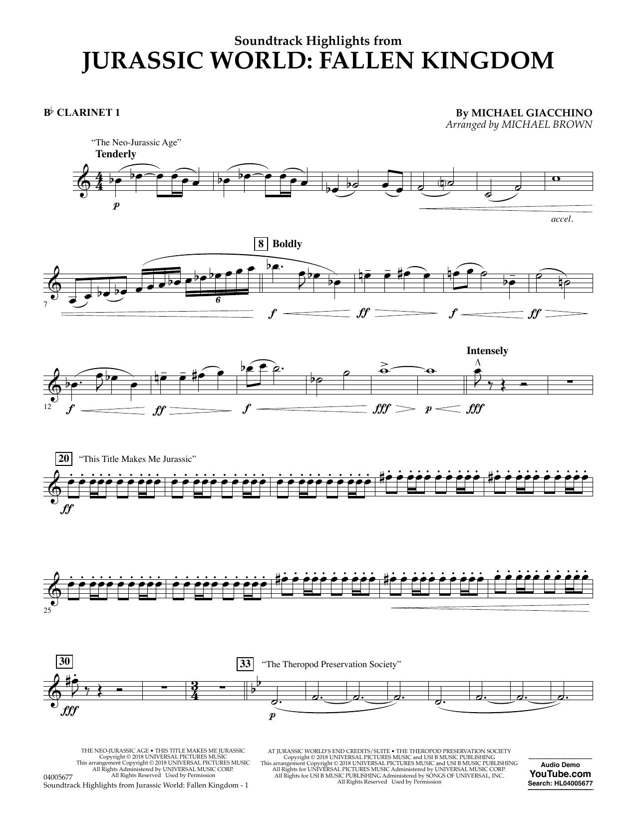 Highlights from Jurassic World: Fallen Kingdom (arr. Michael Brown) - Bb Clarinet 1 (Concert Band)