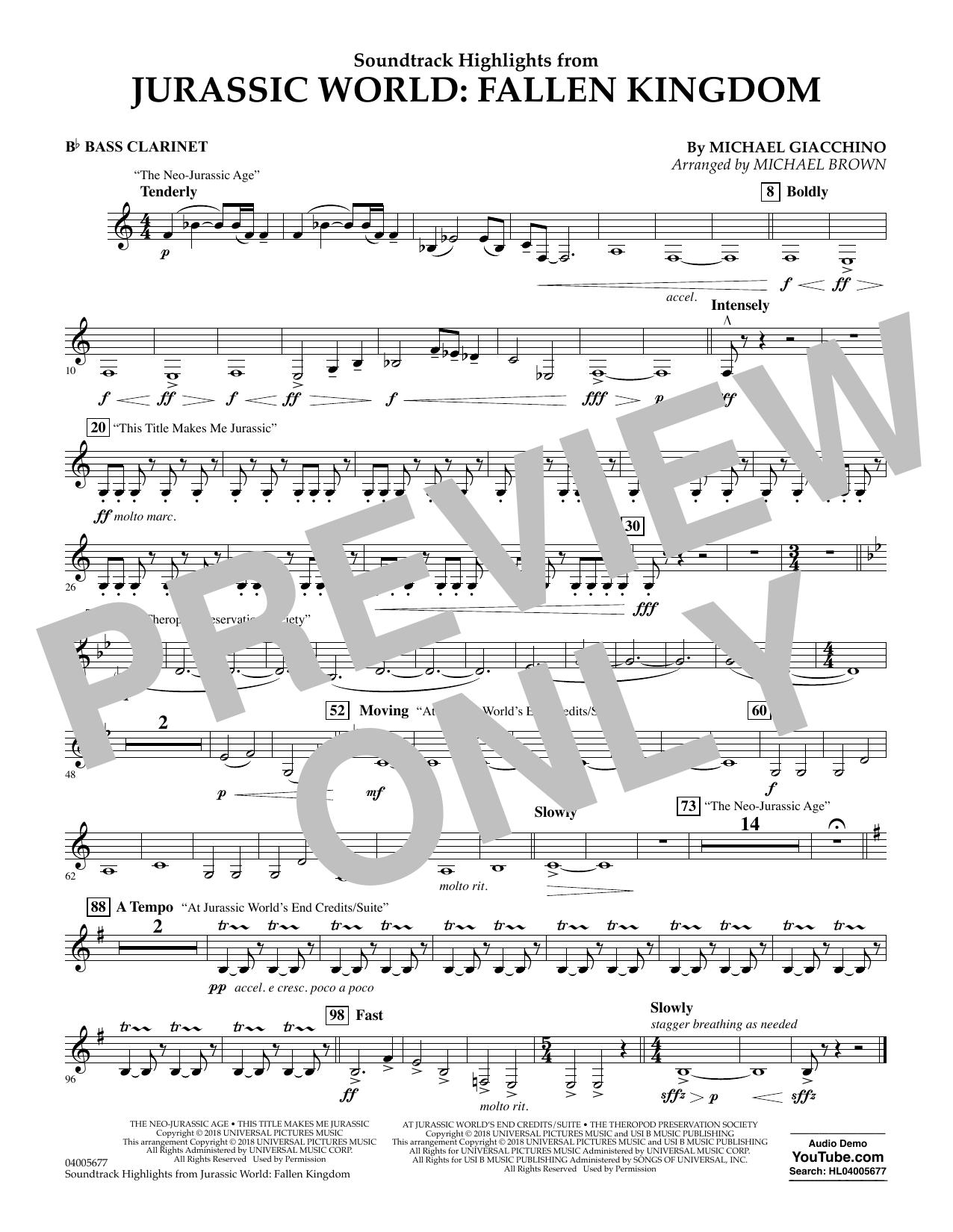 Highlights from Jurassic World: Fallen Kingdom (arr. Michael Brown) - Bb Bass Clarinet (Concert Band)