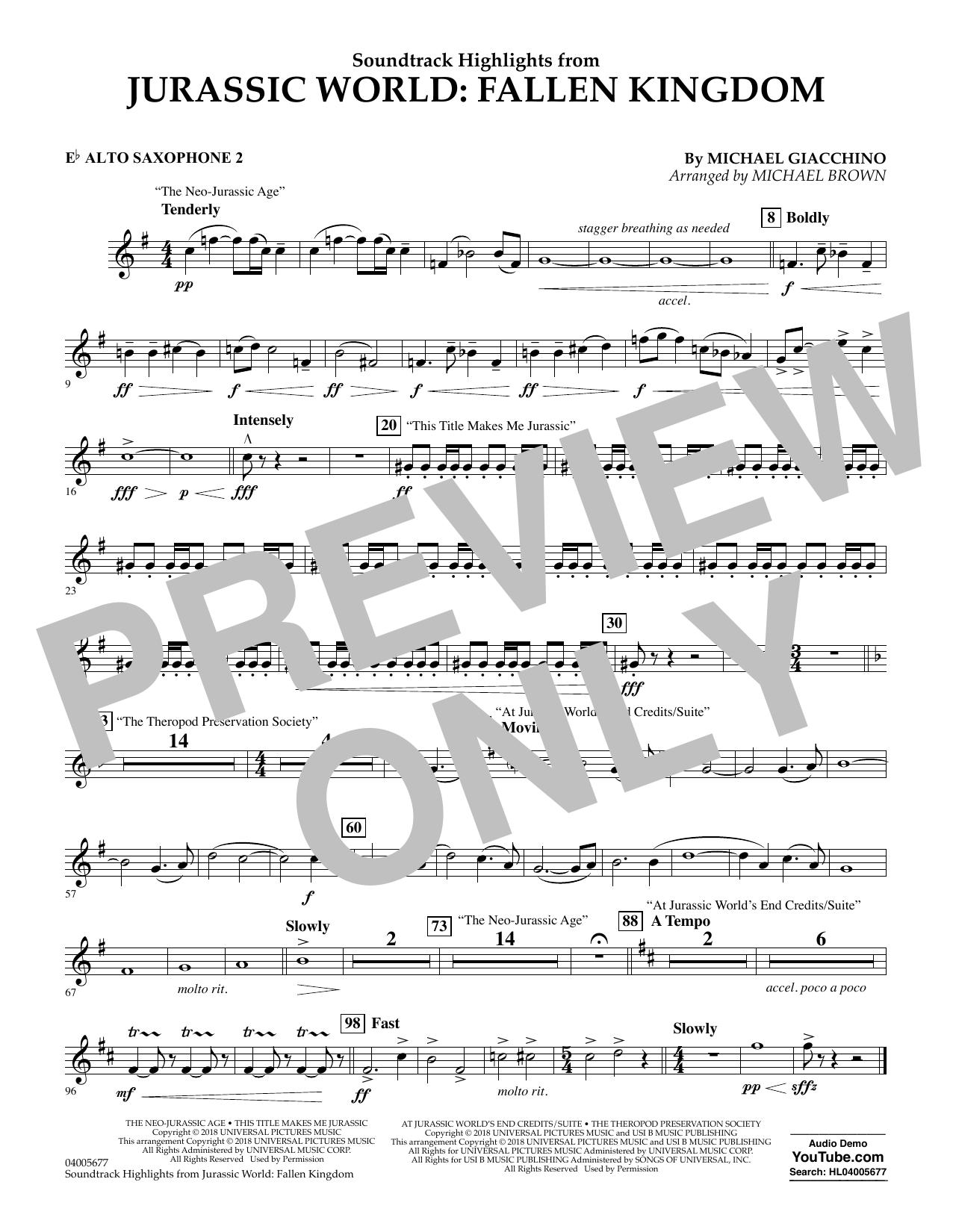 Highlights from Jurassic World: Fallen Kingdom (arr. Michael Brown) - Eb Alto Saxophone 2 (Concert Band)