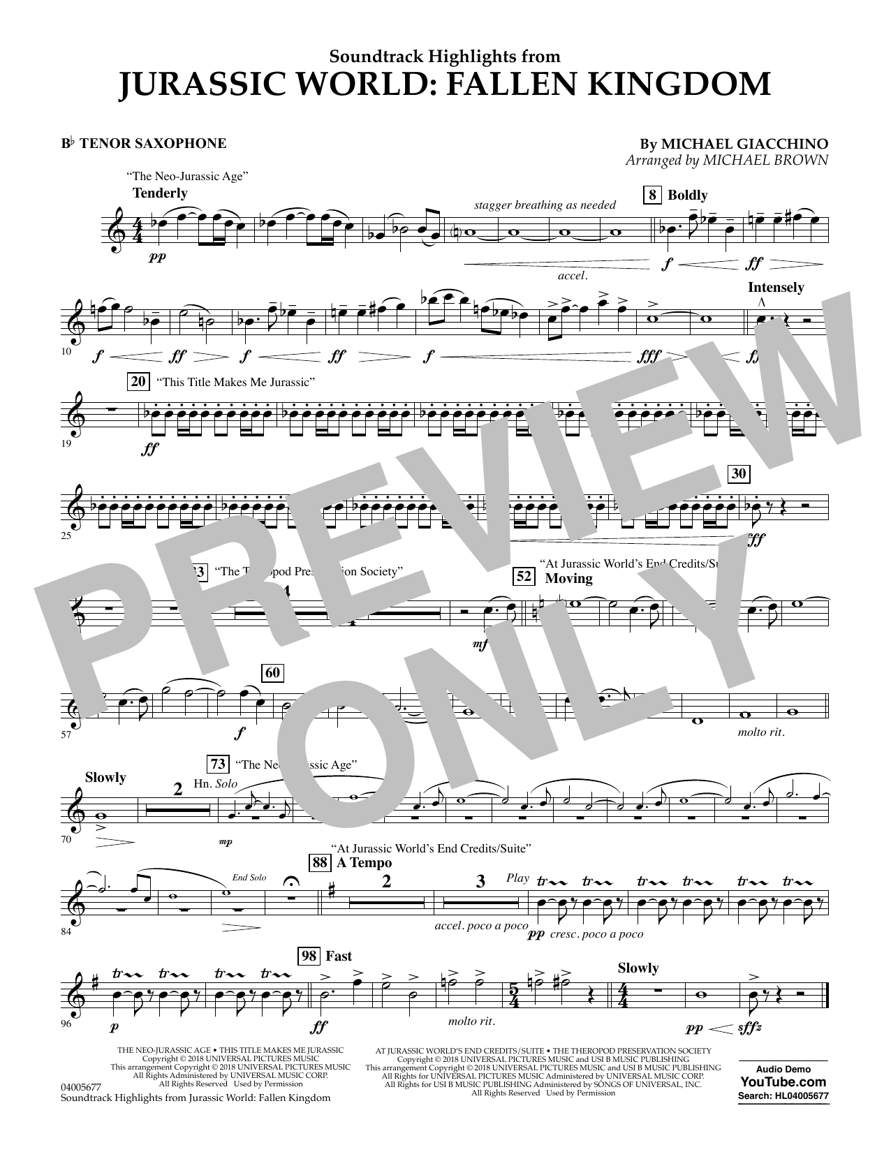 Highlights from Jurassic World: Fallen Kingdom (arr. Michael Brown) - Bb Tenor Saxophone (Concert Band)