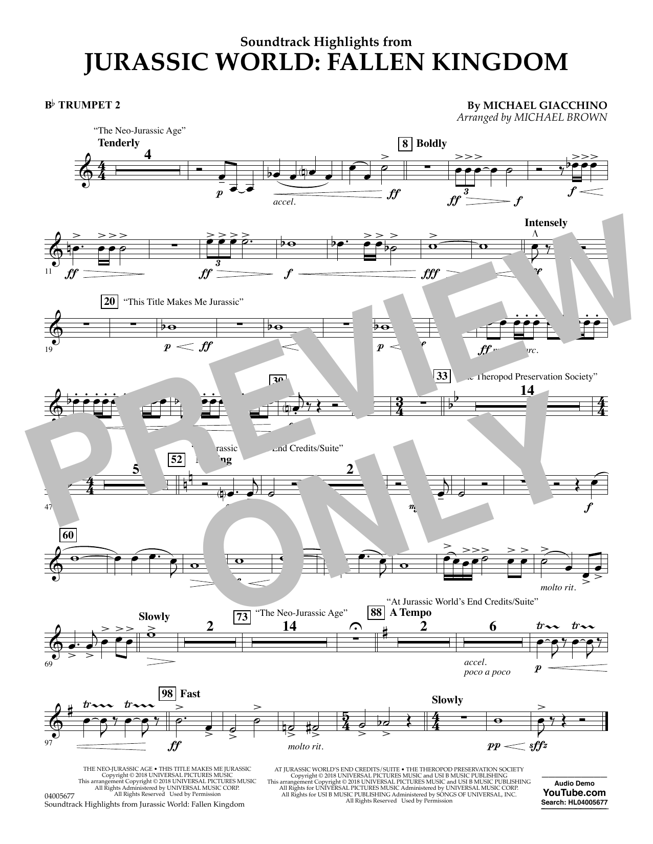 Highlights from Jurassic World: Fallen Kingdom (arr. Michael Brown) - Bb Trumpet 2 (Concert Band)