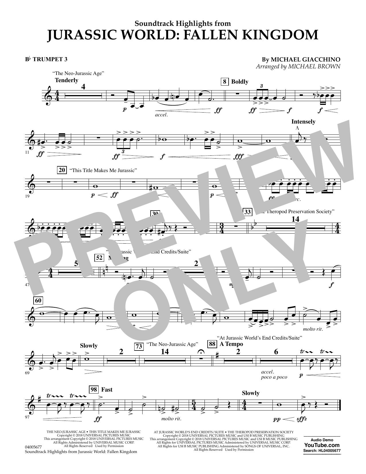 Highlights from Jurassic World: Fallen Kingdom (arr. Michael Brown) - Bb Trumpet 3 (Concert Band)