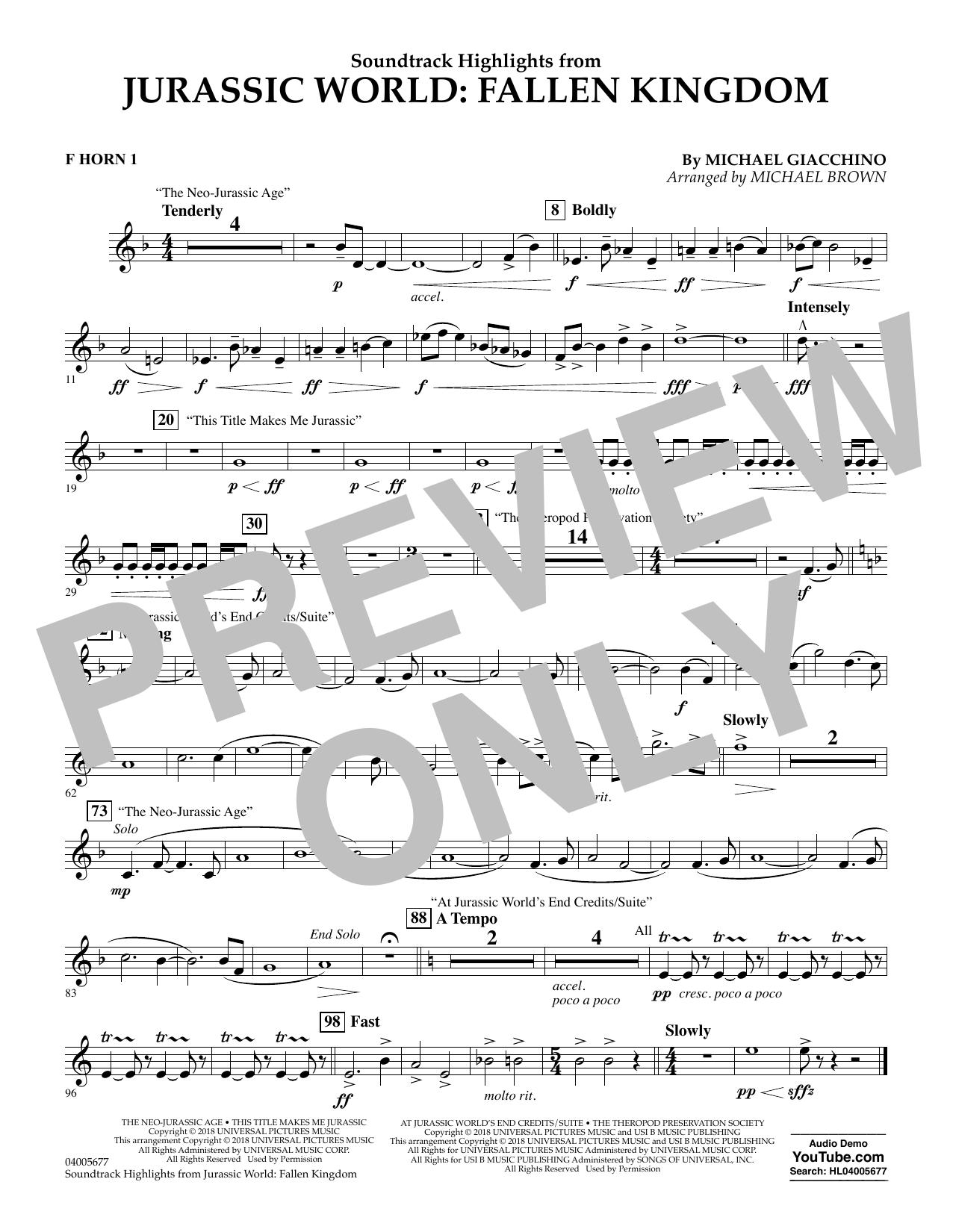 Highlights from Jurassic World: Fallen Kingdom (arr. Michael Brown) - F Horn 1 (Concert Band)