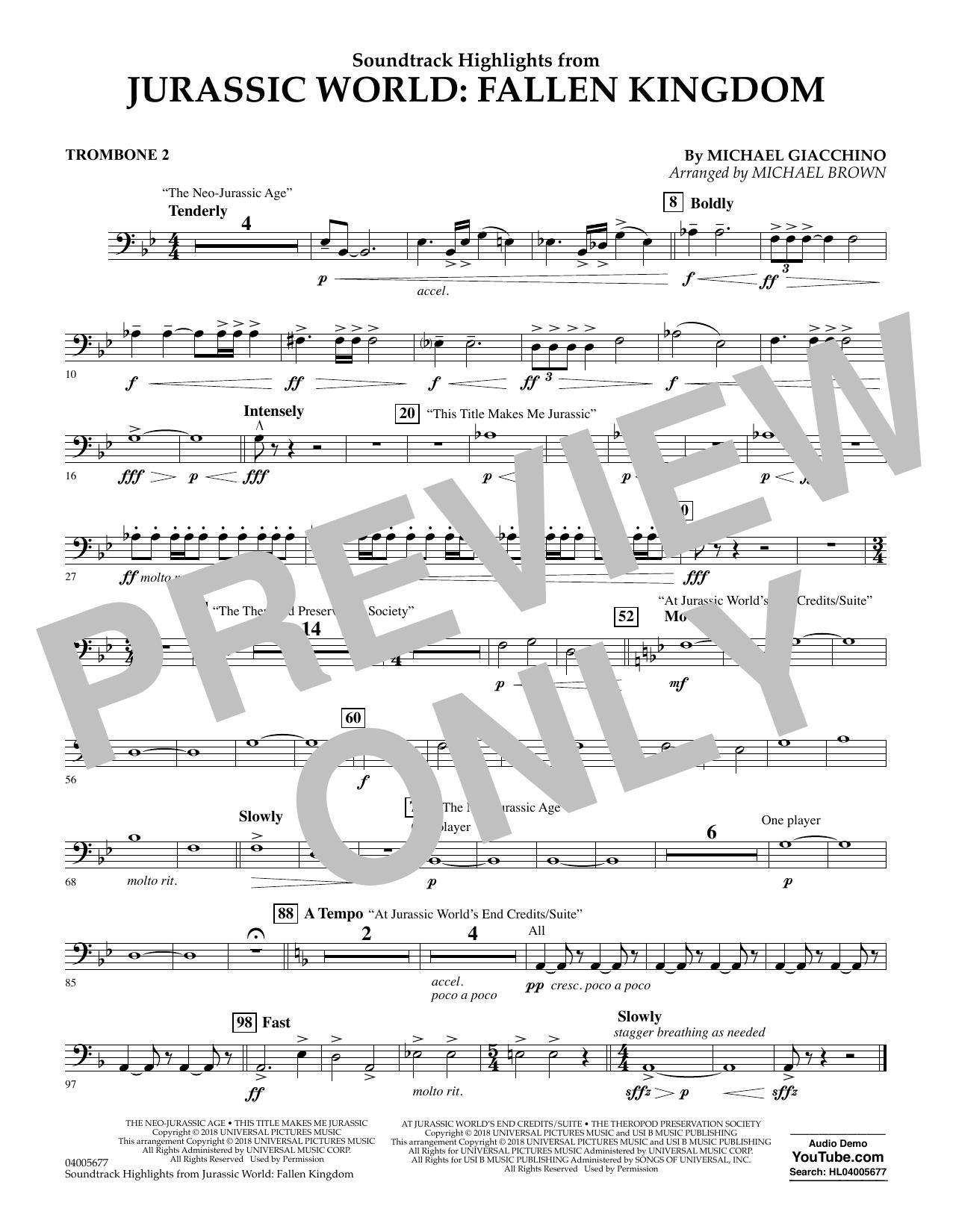 Highlights from Jurassic World: Fallen Kingdom (arr. Michael Brown) - Trombone 2 (Concert Band)
