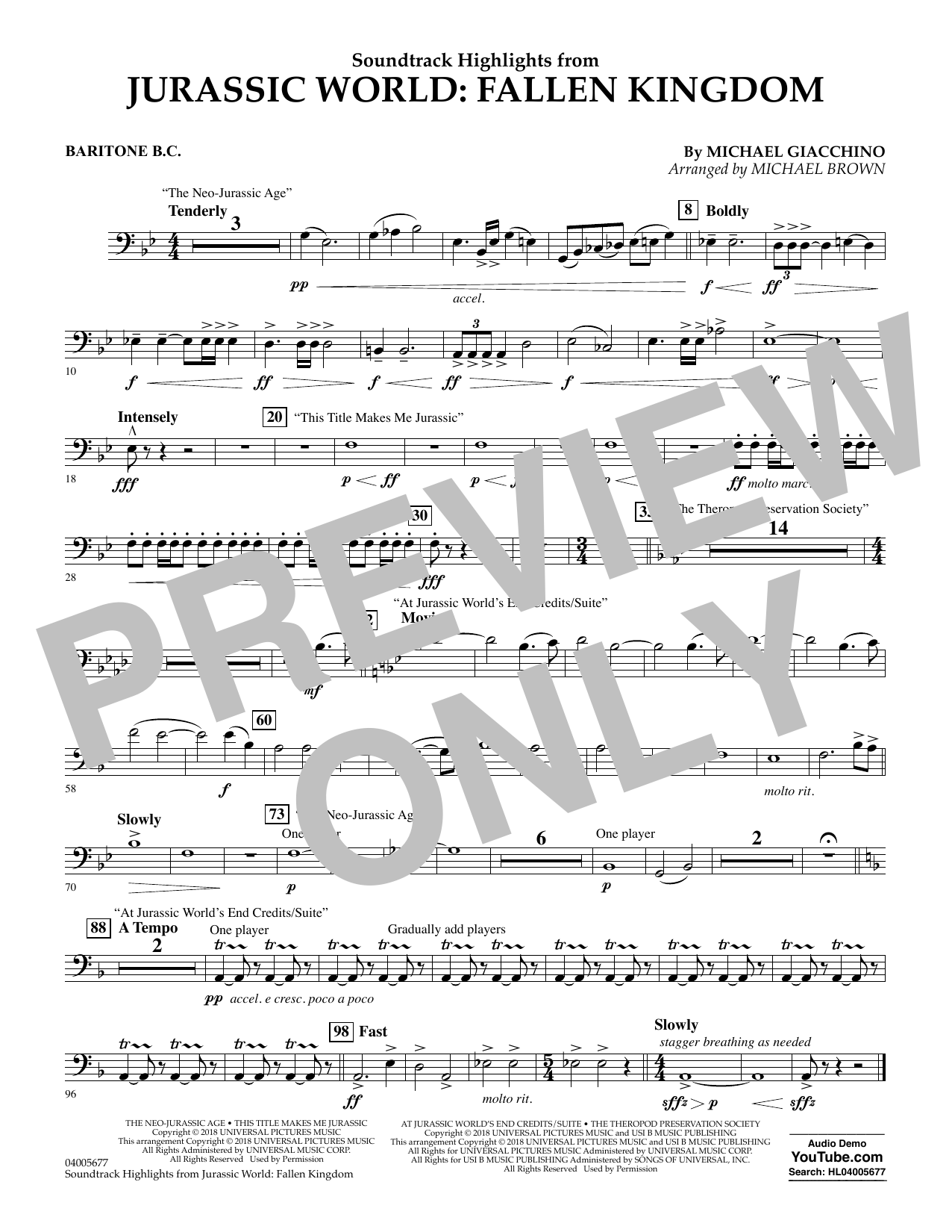 Highlights from Jurassic World: Fallen Kingdom (arr. Michael Brown) - Baritone B.C. (Concert Band)