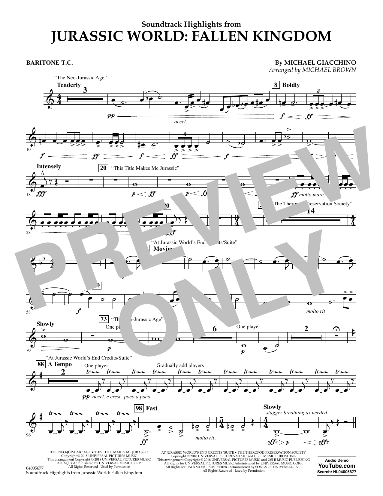 Highlights from Jurassic World: Fallen Kingdom (arr. Michael Brown) - Baritone T.C. (Concert Band)