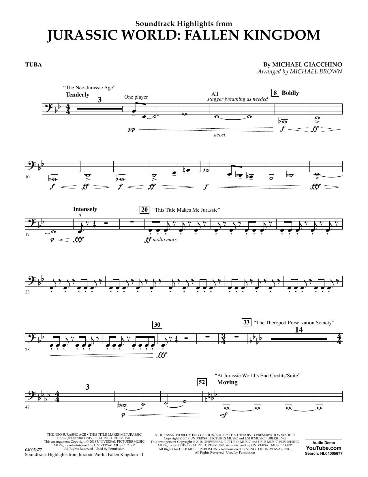 Highlights from Jurassic World: Fallen Kingdom (arr. Michael Brown) - Tuba (Concert Band)