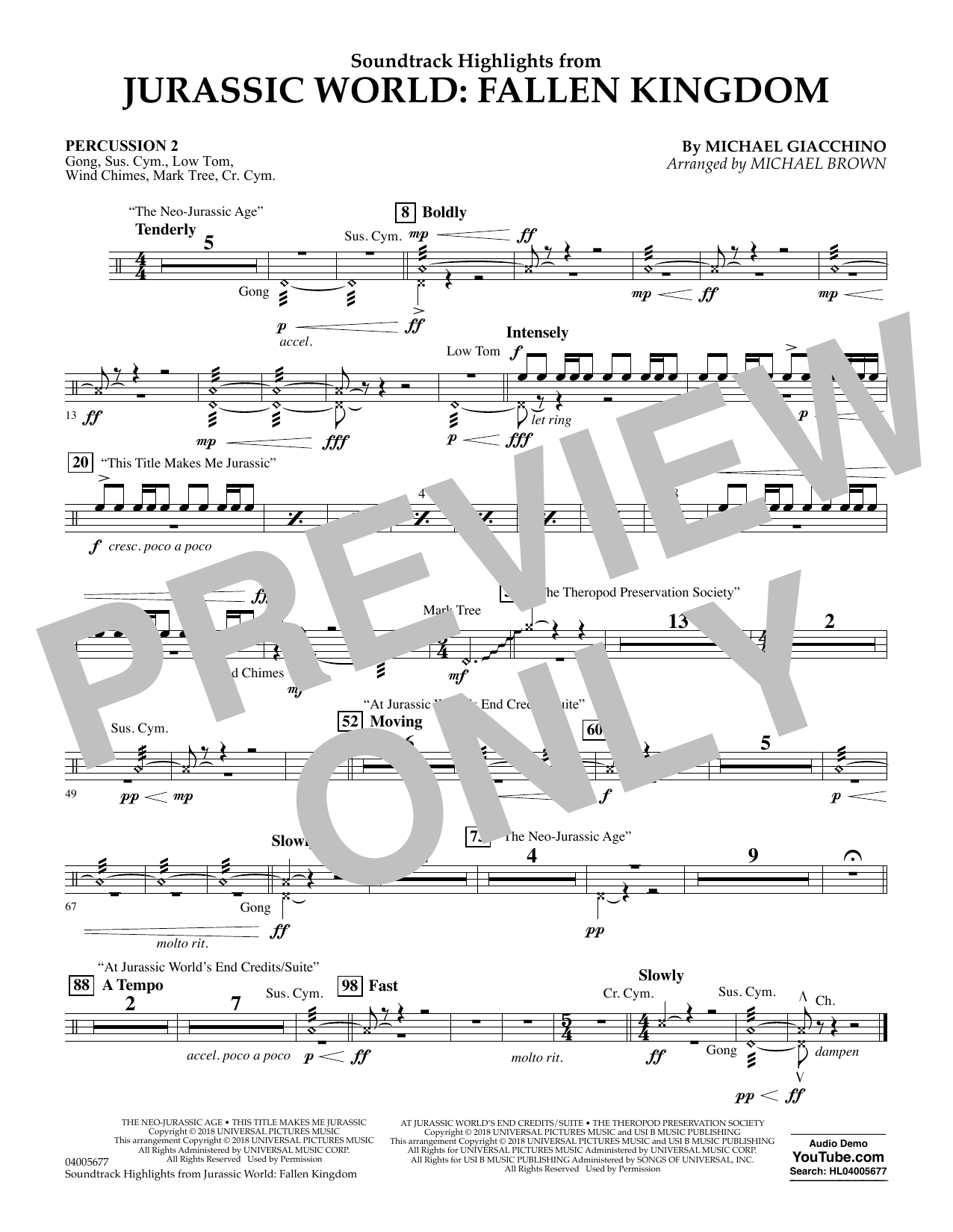 Highlights from Jurassic World: Fallen Kingdom (arr. Michael Brown) - Percussion 2 (Concert Band)