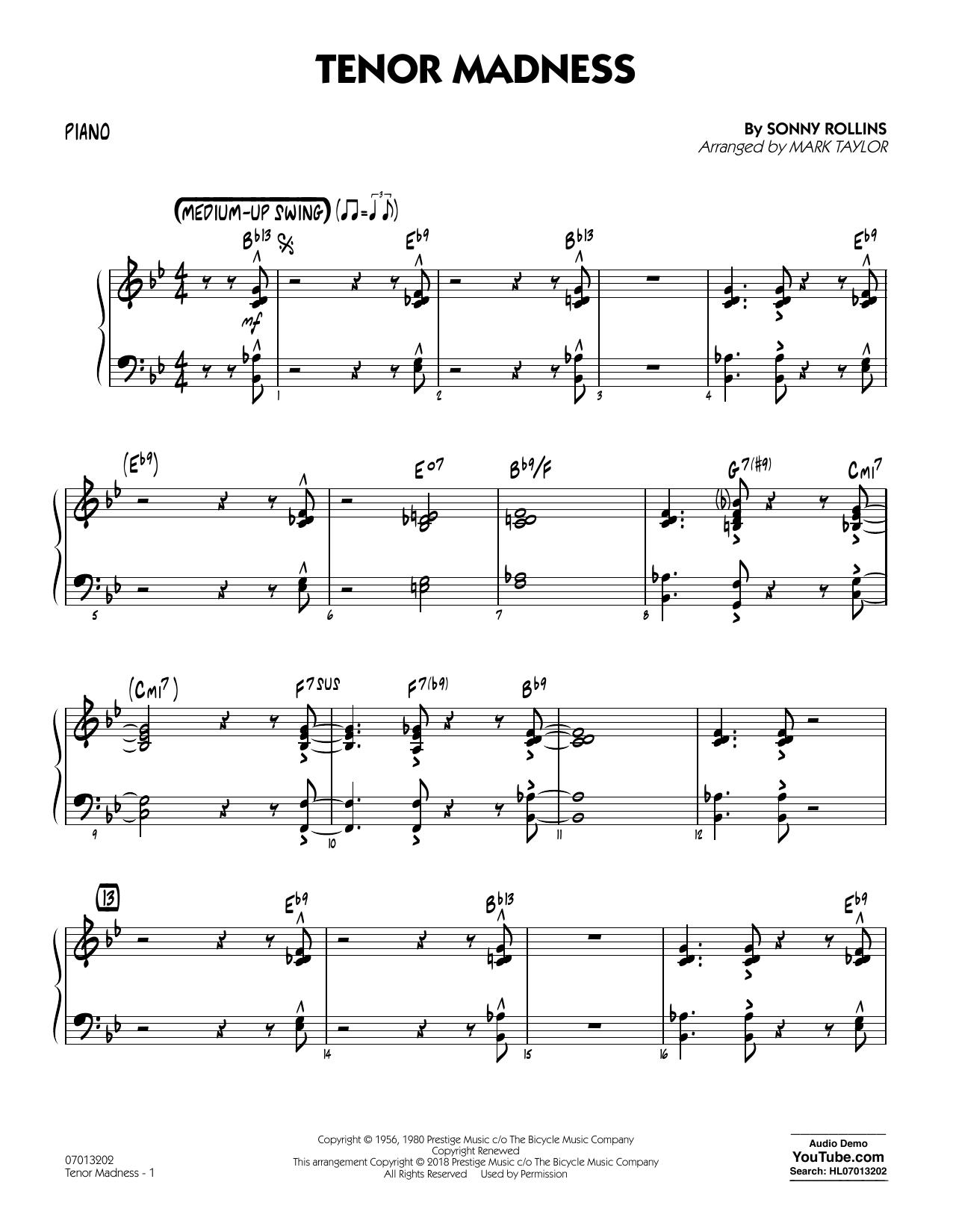 Tenor Madness (arr. Mark Taylor) - Piano (Jazz Ensemble)