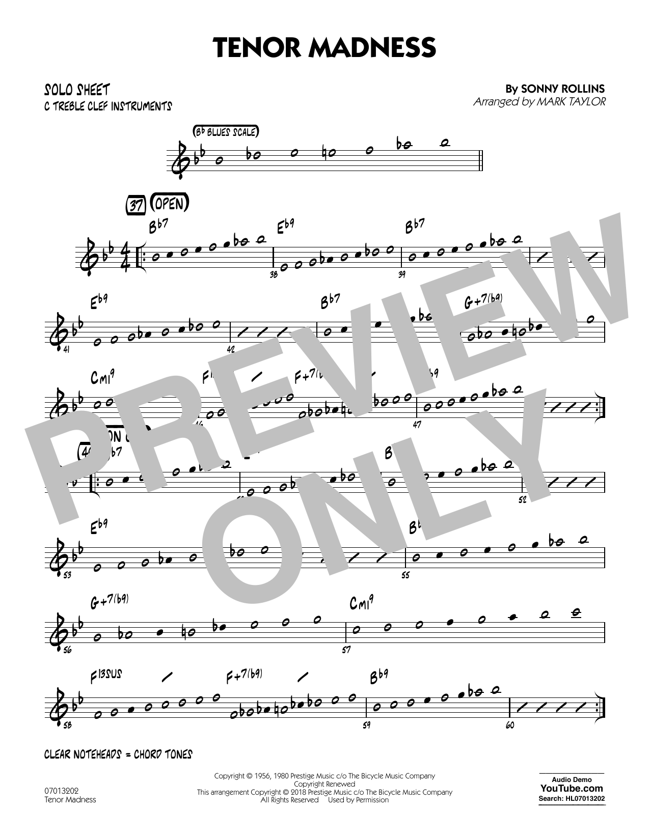 page one of Tenor Madness (arr. Mark Taylor) - C Solo SheetASALTTEXT