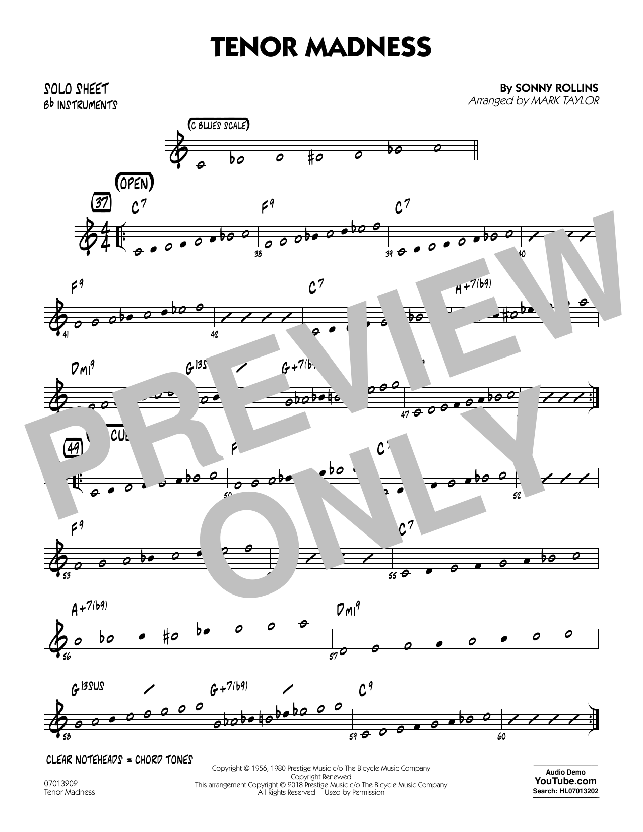 Tenor Madness (arr. Mark Taylor) - Bb Solo Sheet (Jazz Ensemble)