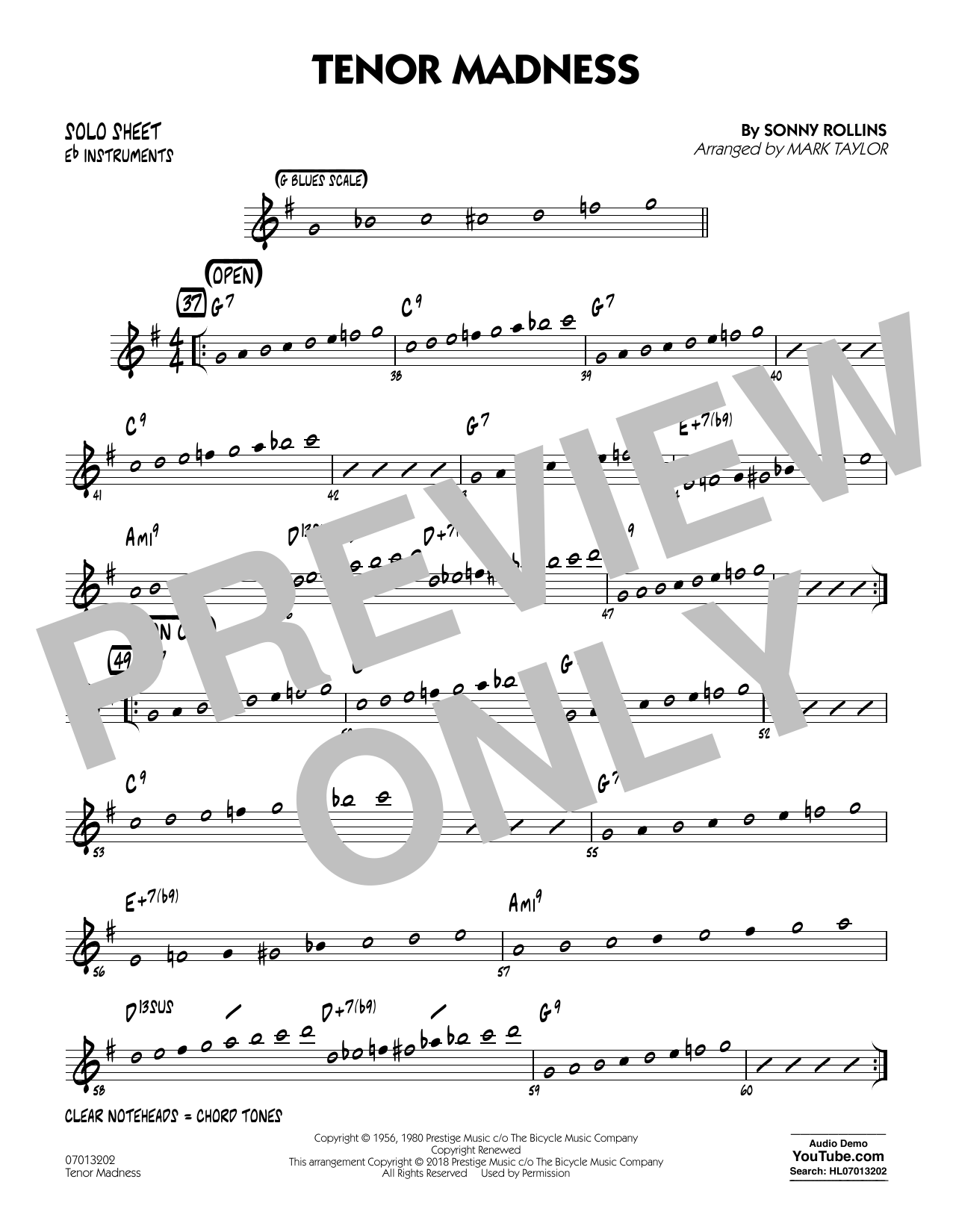 page one of Tenor Madness (arr. Mark Taylor) - Eb Solo SheetASALTTEXT