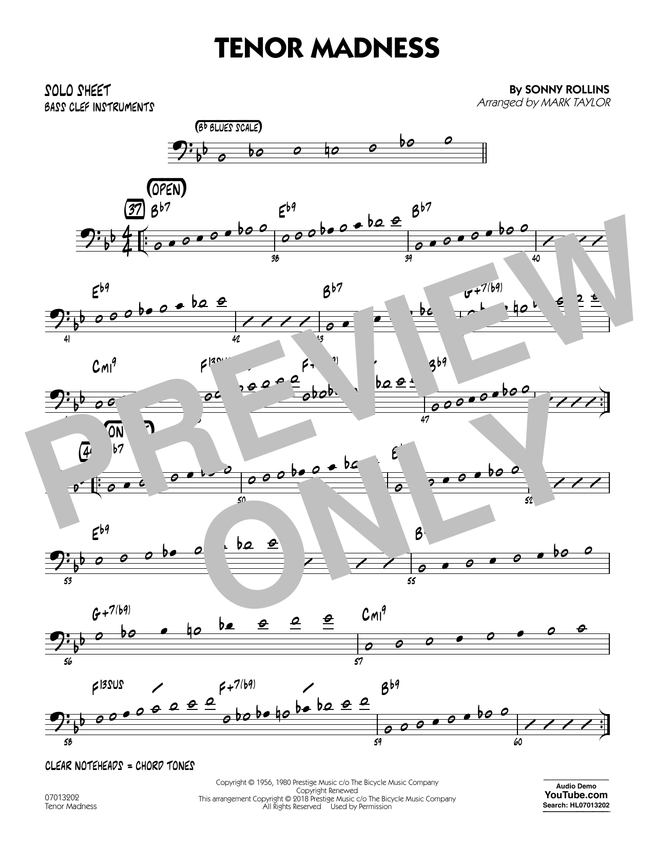 page one of Tenor Madness (arr. Mark Taylor) - Bass Clef Solo SheetASALTTEXT