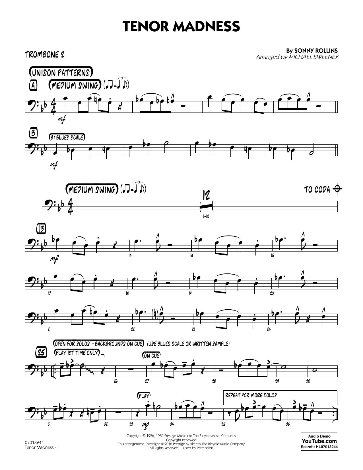 Tenor Madness (arr  Michael Sweeney) - Trombone 2 by Sonny Rollins Jazz  Ensemble Digital Sheet Music
