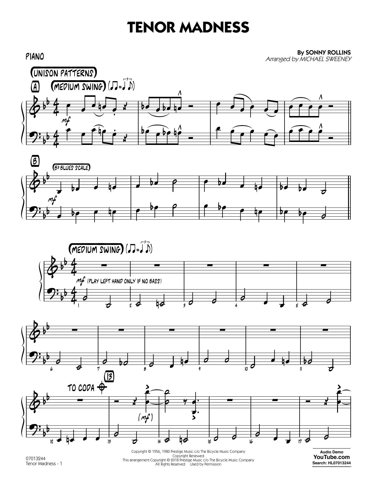 Tenor Madness (arr  Michael Sweeney) - Piano by Sonny Rollins Jazz Ensemble  Digital Sheet Music