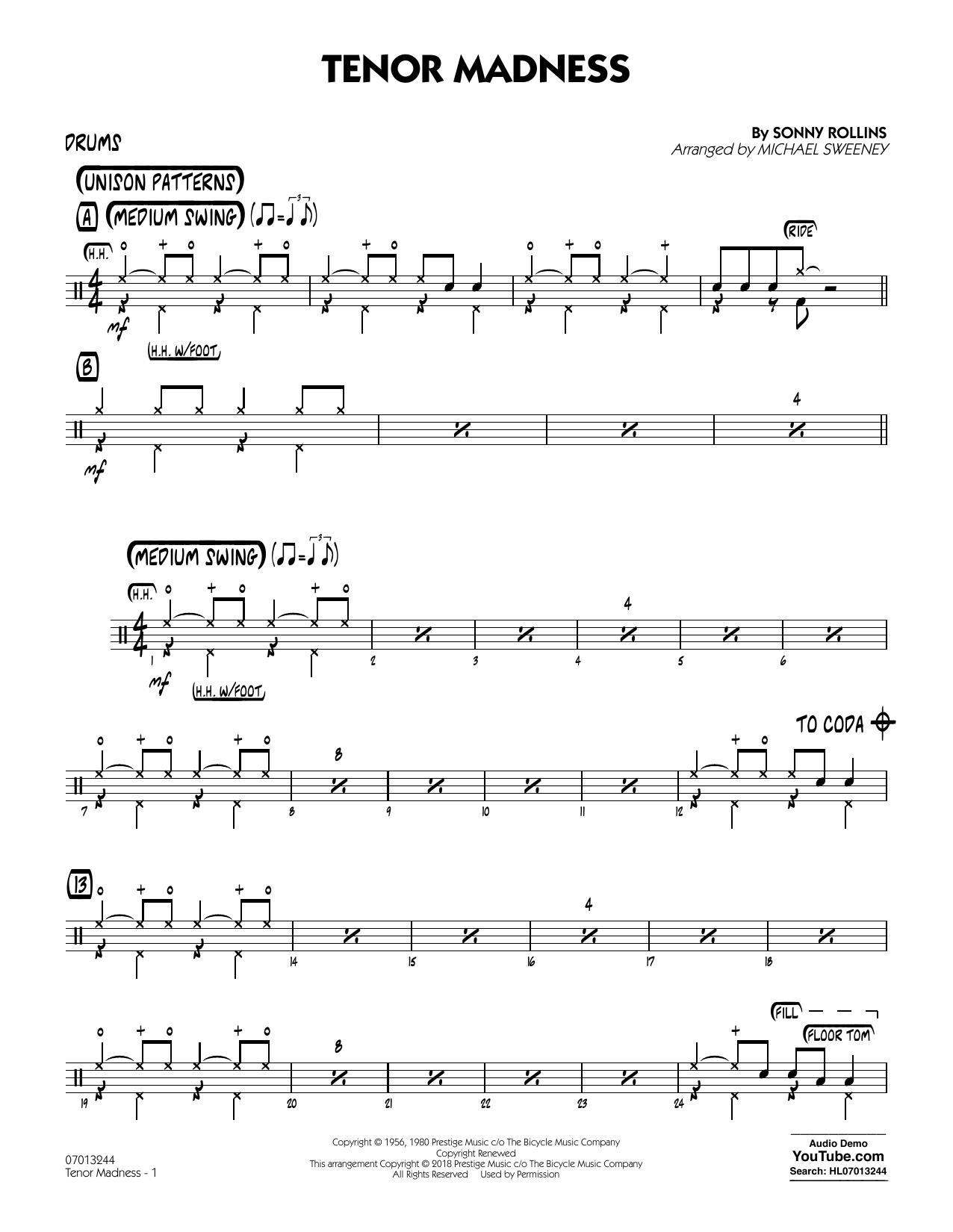 Tenor Madness (arr  Michael Sweeney) - Drums by Sonny Rollins Jazz Ensemble  Digital Sheet Music