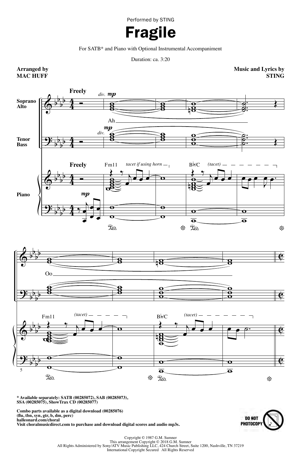 Fragile (arr. Mac Huff) (SATB Choir)