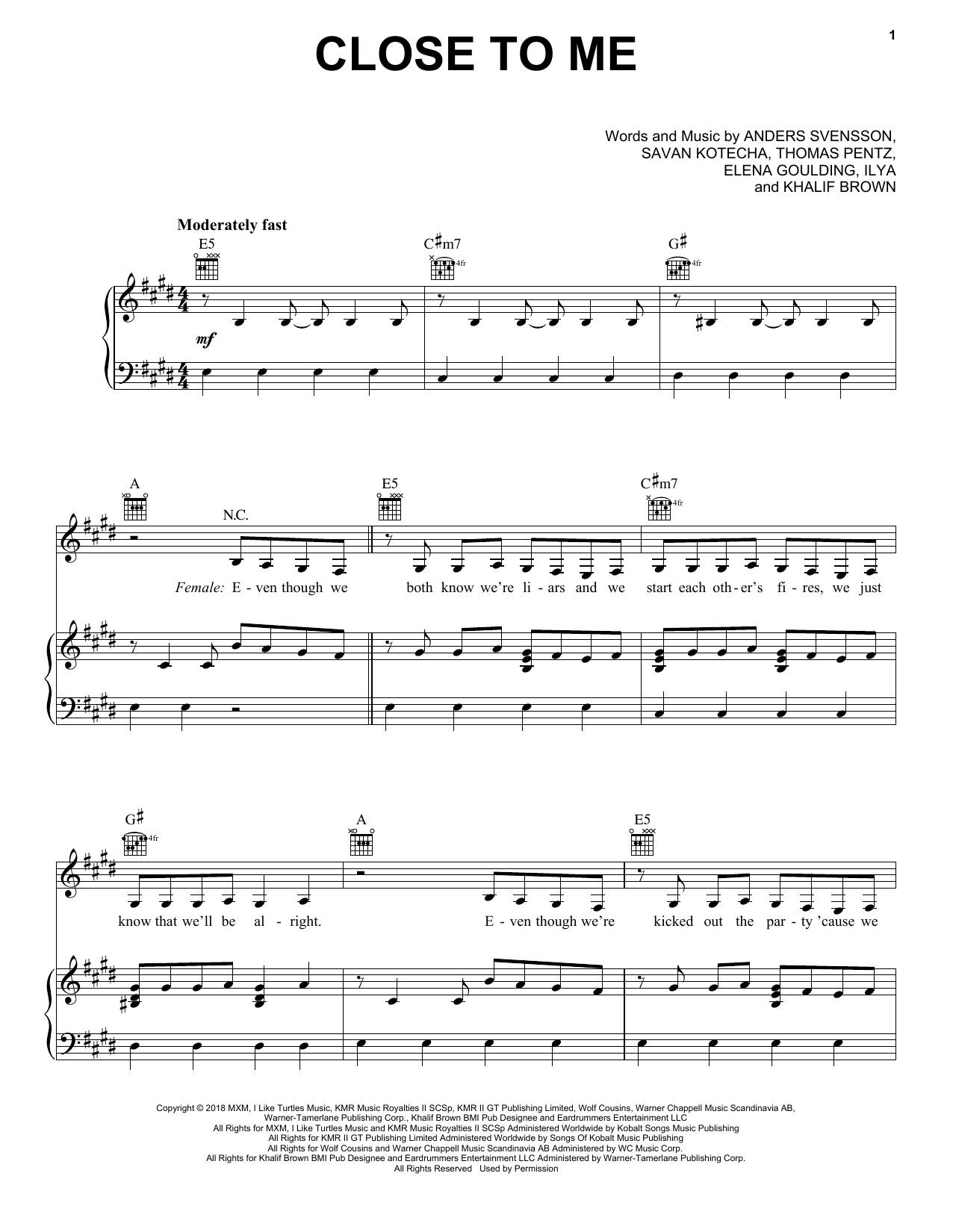 Close To Me (Piano, Vocal & Guitar (Right-Hand Melody))