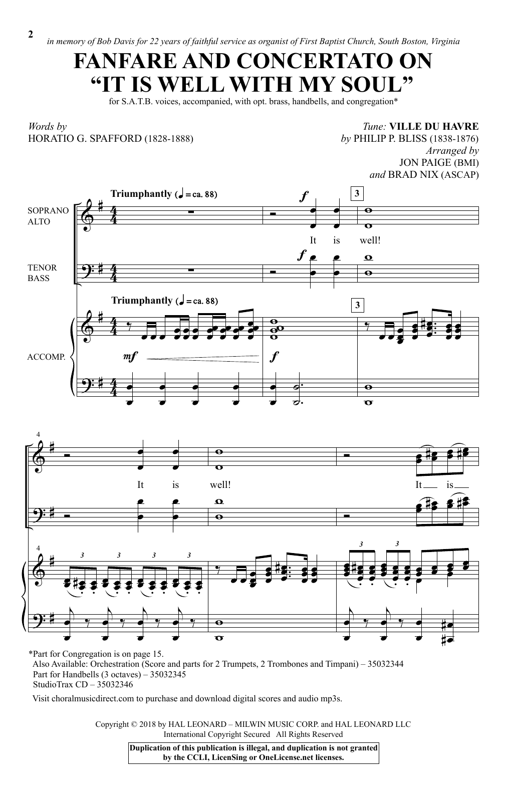 "Fanfare And Concertato On ""It Is Well With My Soul"" (arr. Jon Paige & Brad Nix) (SATB Choir)"