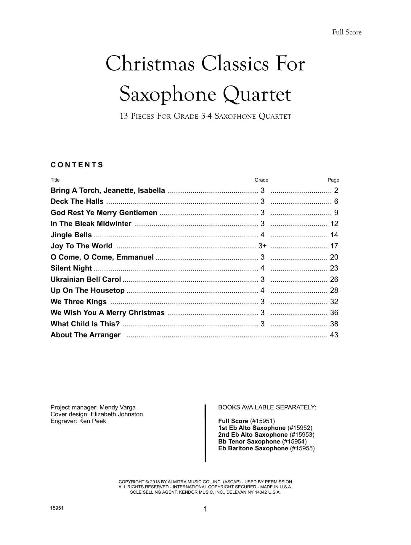 Christmas Classics For Saxophone Quartet - Full Score Sheet Music