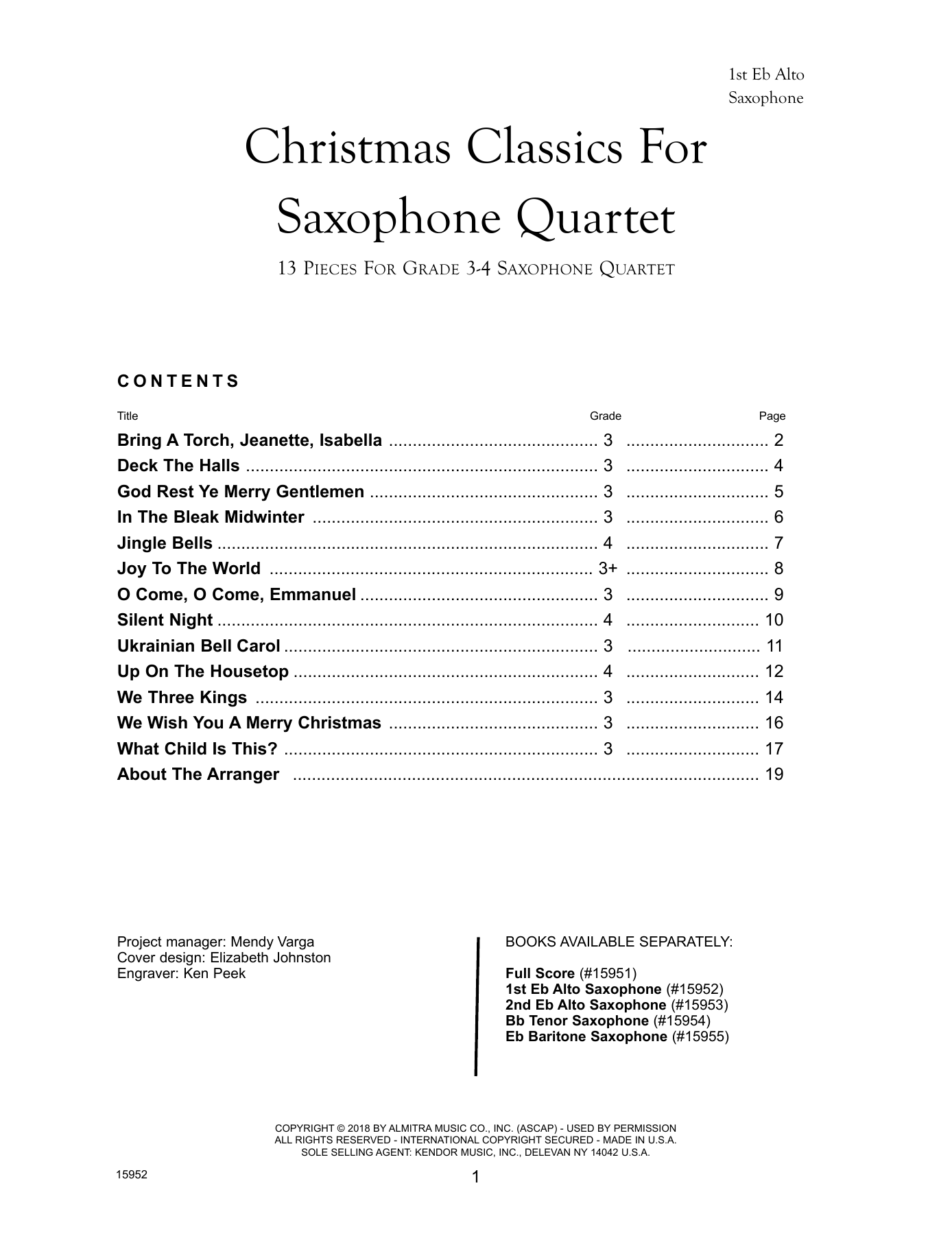 Christmas Classics For Saxophone Quartet - 1st Eb Alto Saxophone Partition Digitale