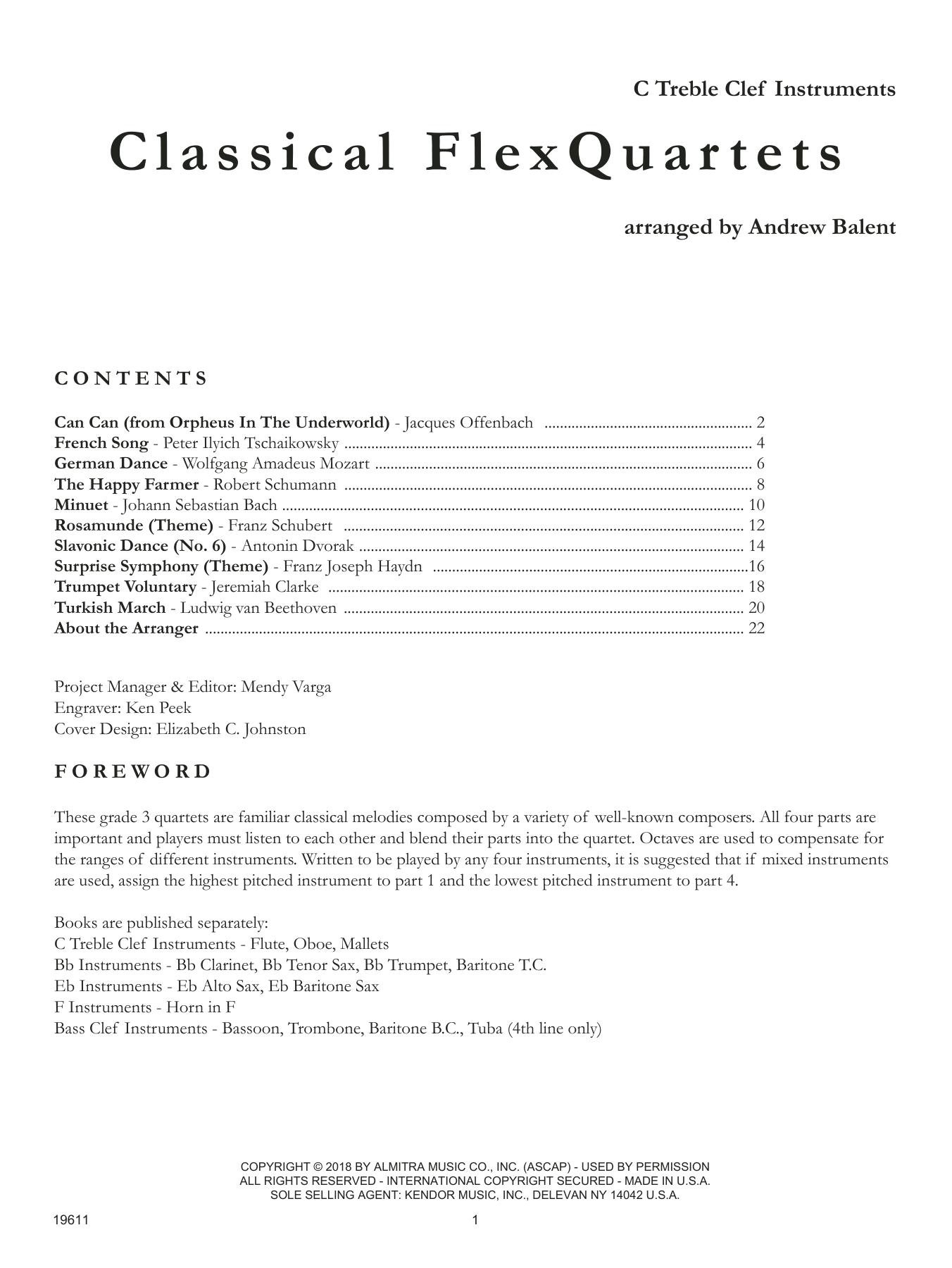 Classical FlexQuartets - C Treble Clef Instruments Sheet Music