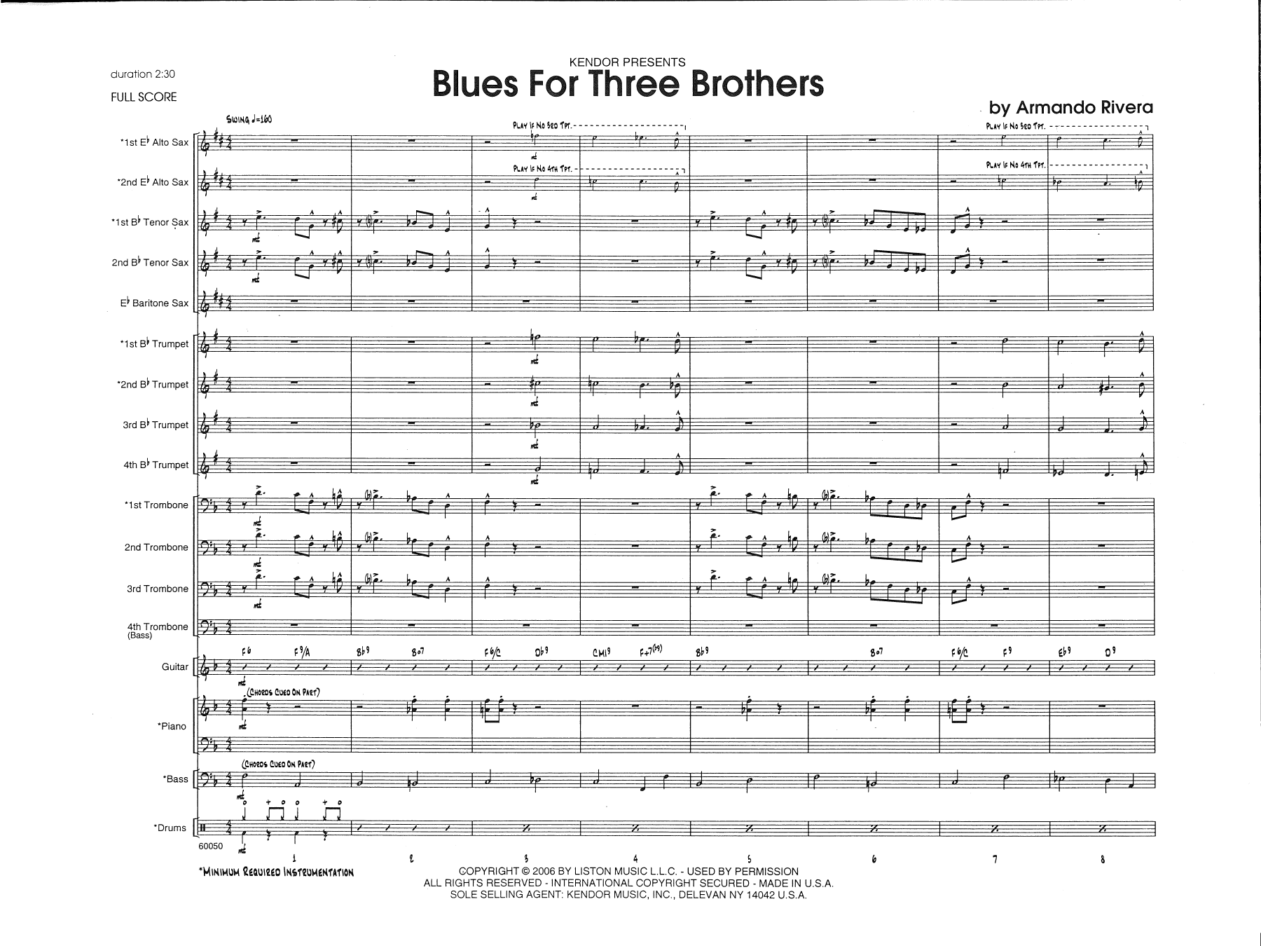 Blues For Three Brothers - Full Score atStanton's Sheet Music