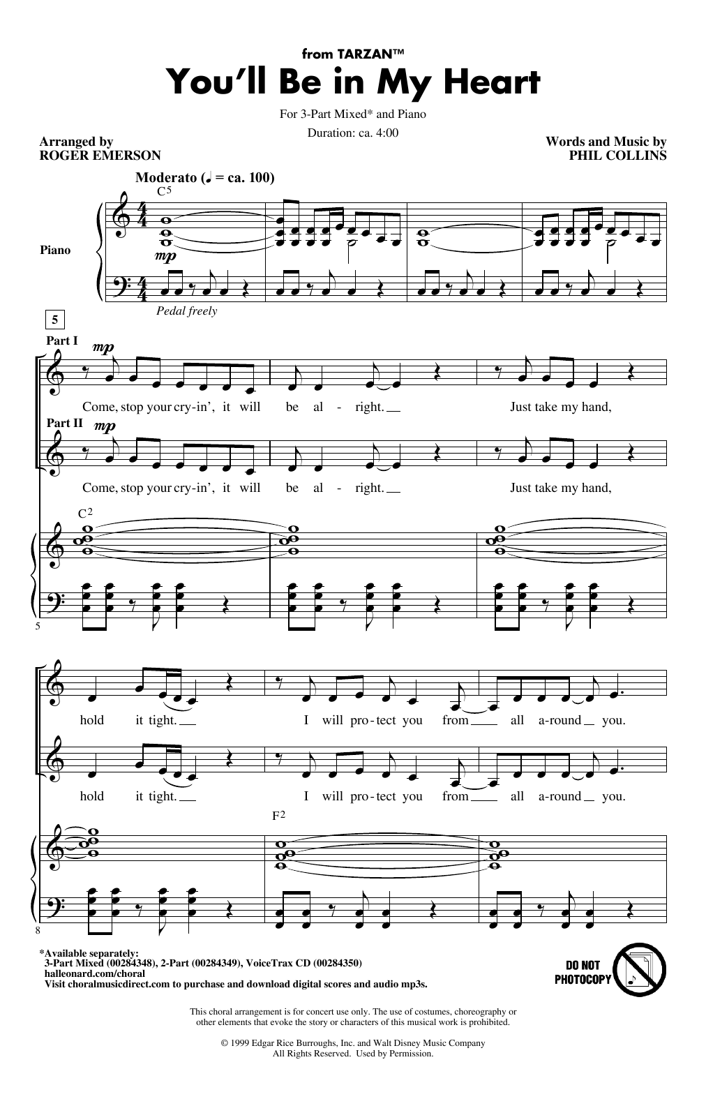 You'll Be In My Heart (from Tarzan) (arr. Roger Emerson) (3-Part Mixed Choir)