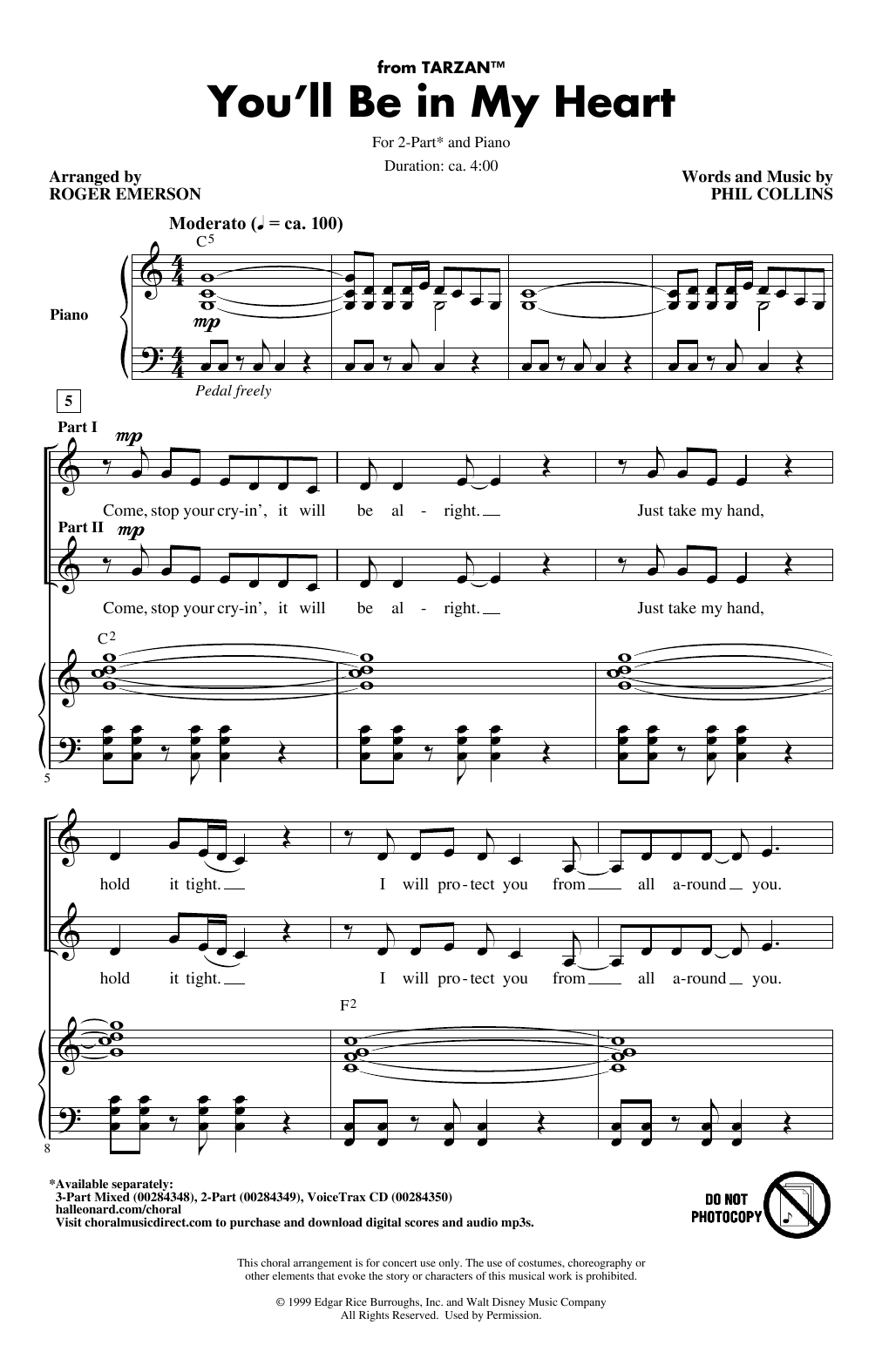 You'll Be In My Heart (from Tarzan) (arr. Roger Emerson) (2-Part Choir)