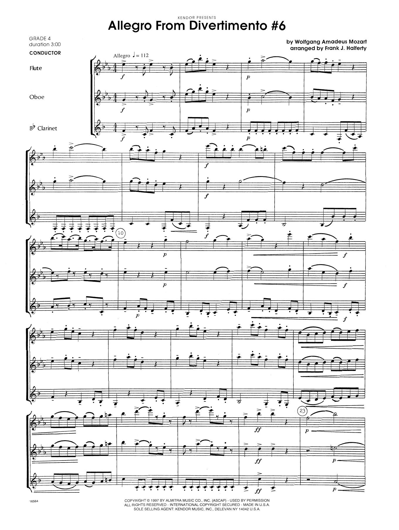 Allegro From Divertimento #6 (arr. Frank Halferty) - Full Score Sheet Music