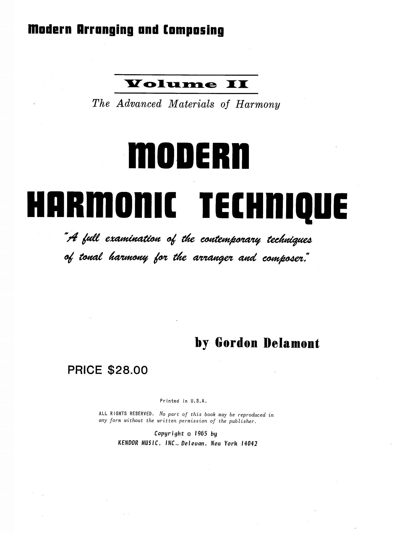 Modern Harmonic Technique, Volume 2 (Instrumental Method)