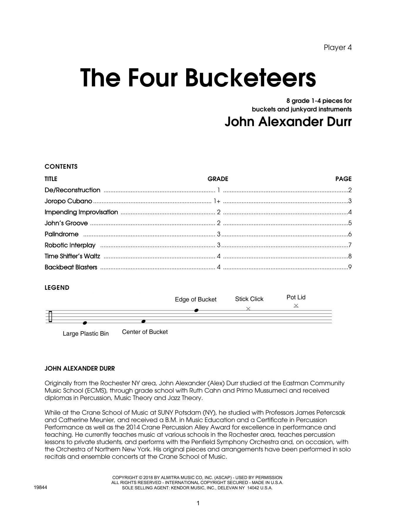 The Four Bucketeers - Percussion 4 by John Durr Percussion Ensemble Digital  Sheet Music