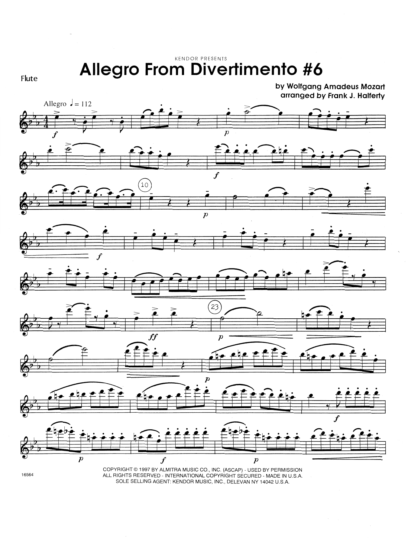 Allegro From Divertimento #6 (arr. Frank Halferty) - Flute Sheet Music