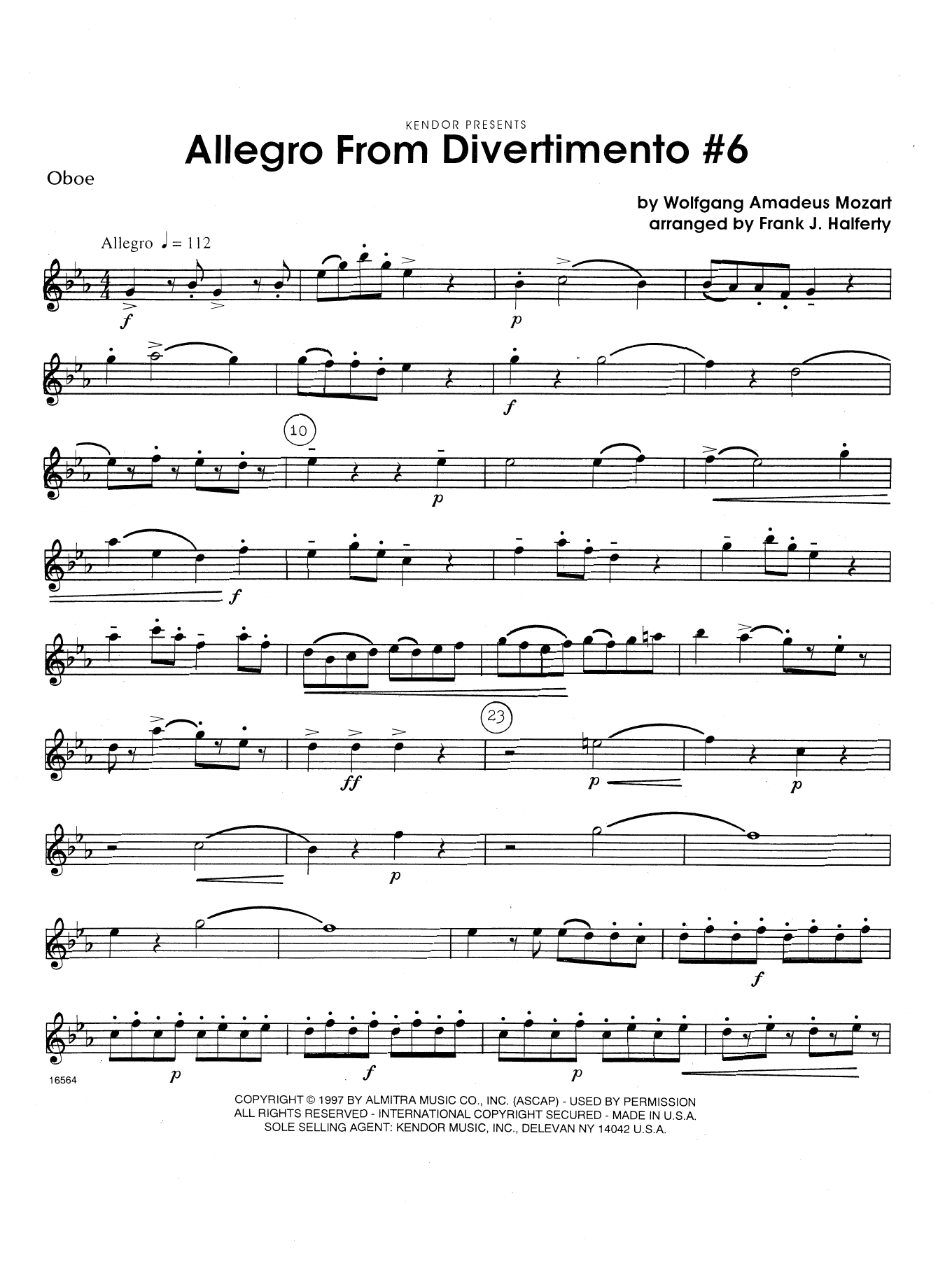 Allegro From Divertimento #6 (arr. Frank Halferty) - Oboe Sheet Music