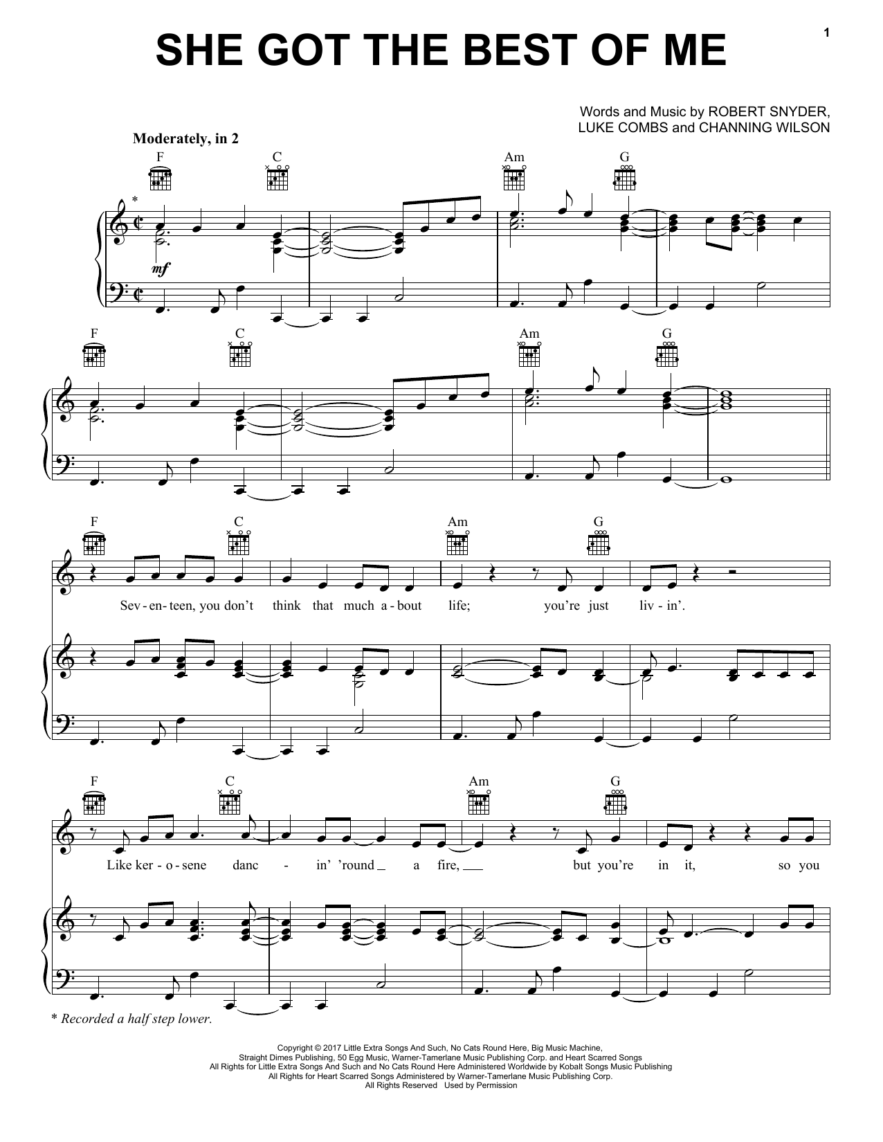 She Got The Best Of Me (Piano, Vocal & Guitar (Right-Hand Melody))