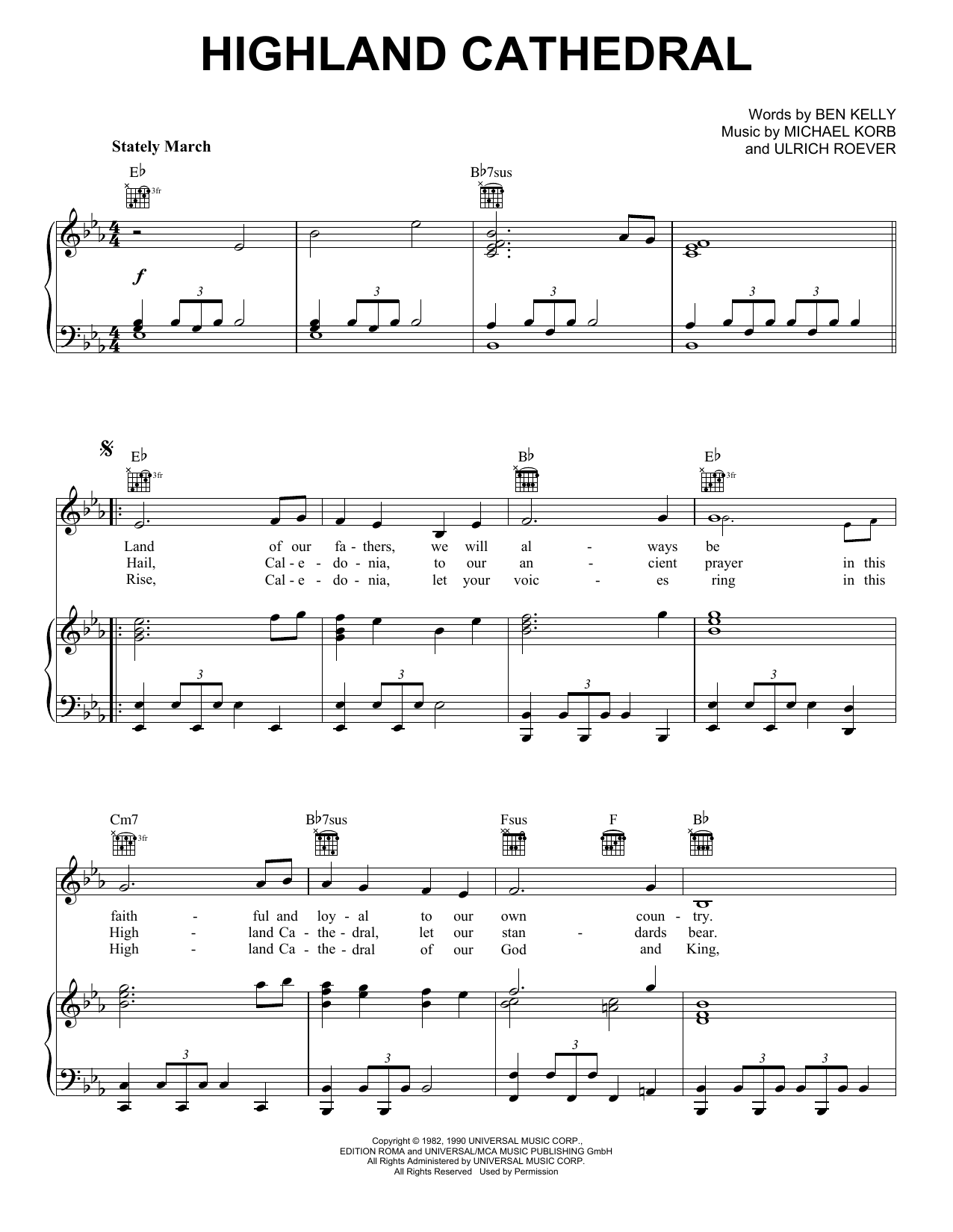 Highland Cathedral (Piano, Vocal & Guitar (Right-Hand Melody))