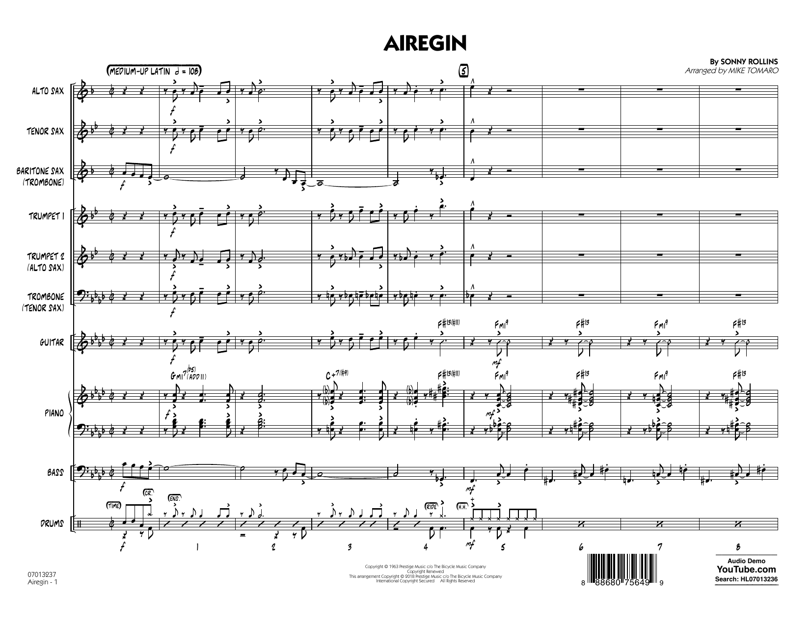 Airegin (arr. Mike Tomaro) - Full Score (Jazz Ensemble)