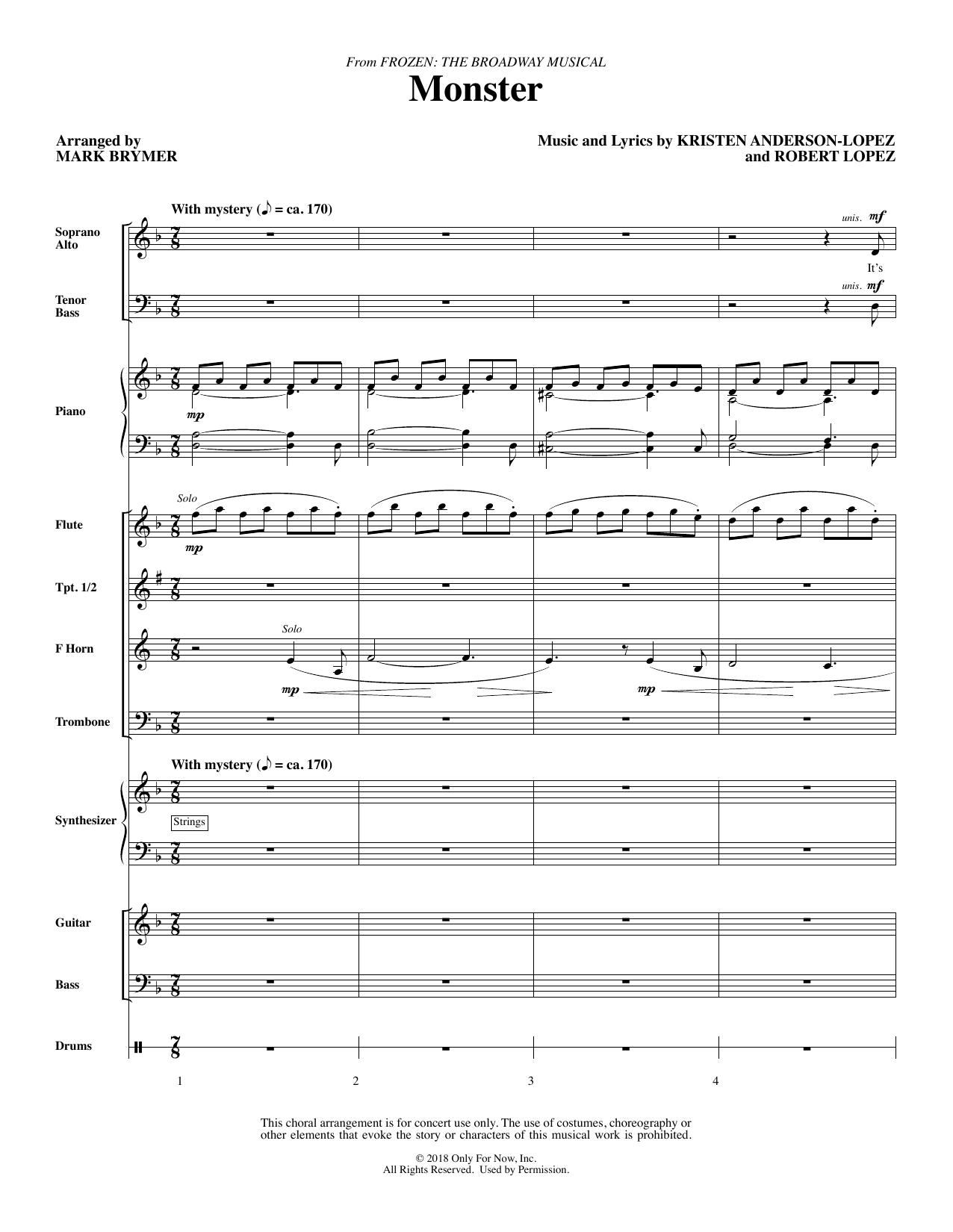 Monster (from Frozen The Broadway Musical) (arr. Mark Brymer) - Full Score (Choir Instrumental Pak)