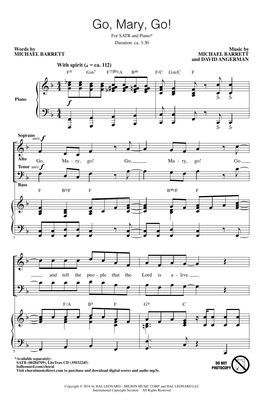 Go, Mary, Go! (SATB Choir)