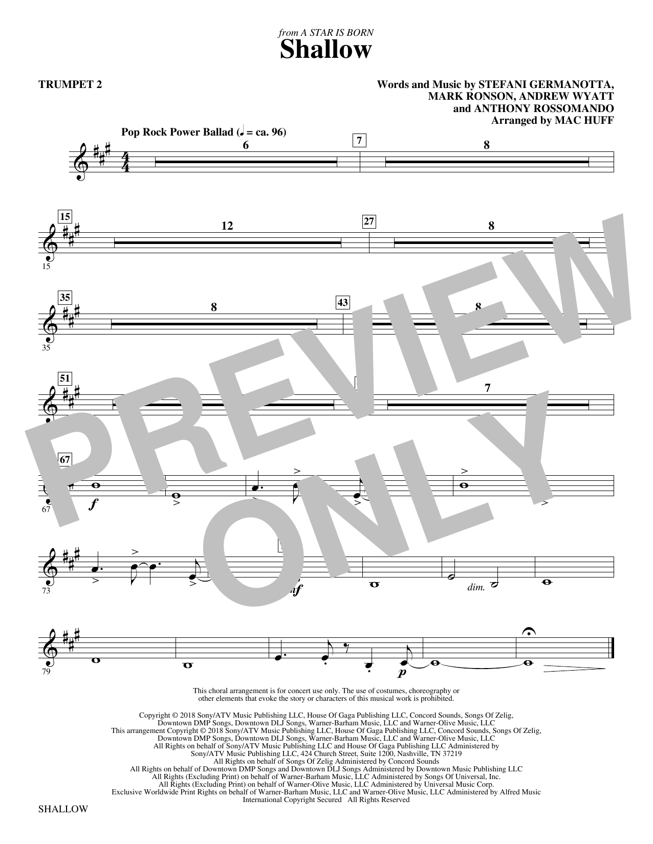 Shallow (from A Star Is Born) (arr. Mac Huff) - Trumpet 2 Partition Digitale