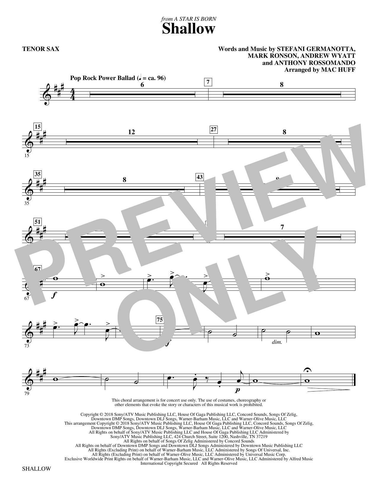 Shallow (from A Star Is Born) (arr. Mac Huff) - Tenor Saxophone (Choir Instrumental Pak)
